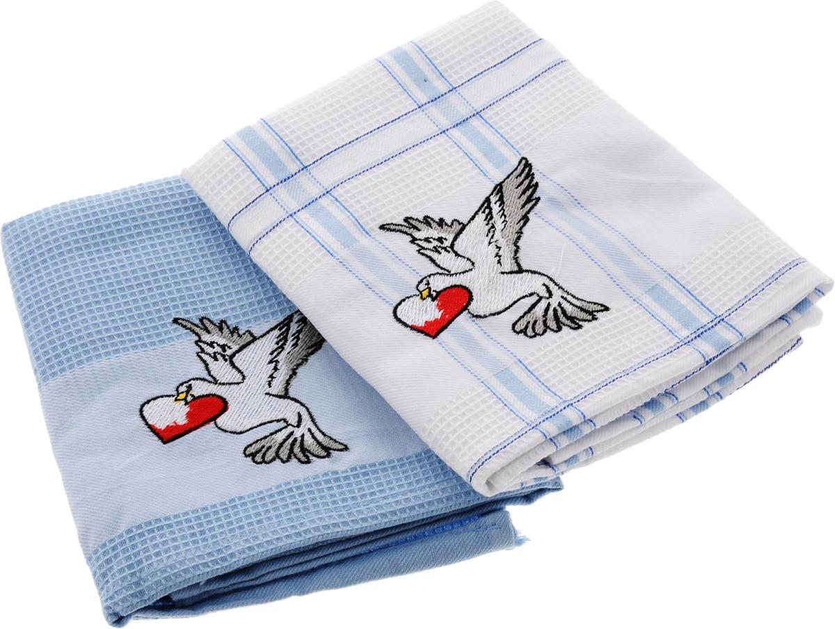 Набор кухонных полотенец Soavita Подарочное, цвет: голубой, белый, 43 х 68 см, 2 шт. 4548645486Набор Soavita Подарочное состоит из двух полотенец, выполненных из 100% хлопка. Изделия предназначены для использования на кухне и в столовой. Набор полотенец Soavita Подарочное - отличное приобретение для каждой хозяйки. Комплектация: 2 шт.