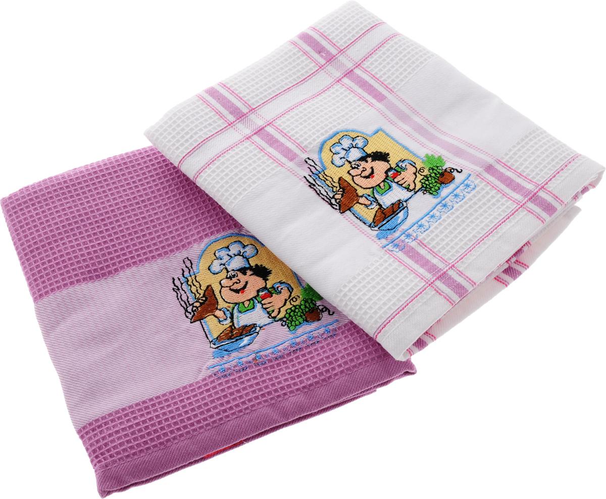 Набор кухонных полотенец Soavita Повар, цвет: белый, розовый, 45 х 70 см, 2 шт. 4777447774Набор Soavita Повар состоит из двух полотенец, выполненных из 100% хлопка. Изделия предназначены для использования на кухне и в столовой. Набор полотенец Soavita Повар - отличное приобретение для каждой хозяйки. Комплектация: 2 шт.