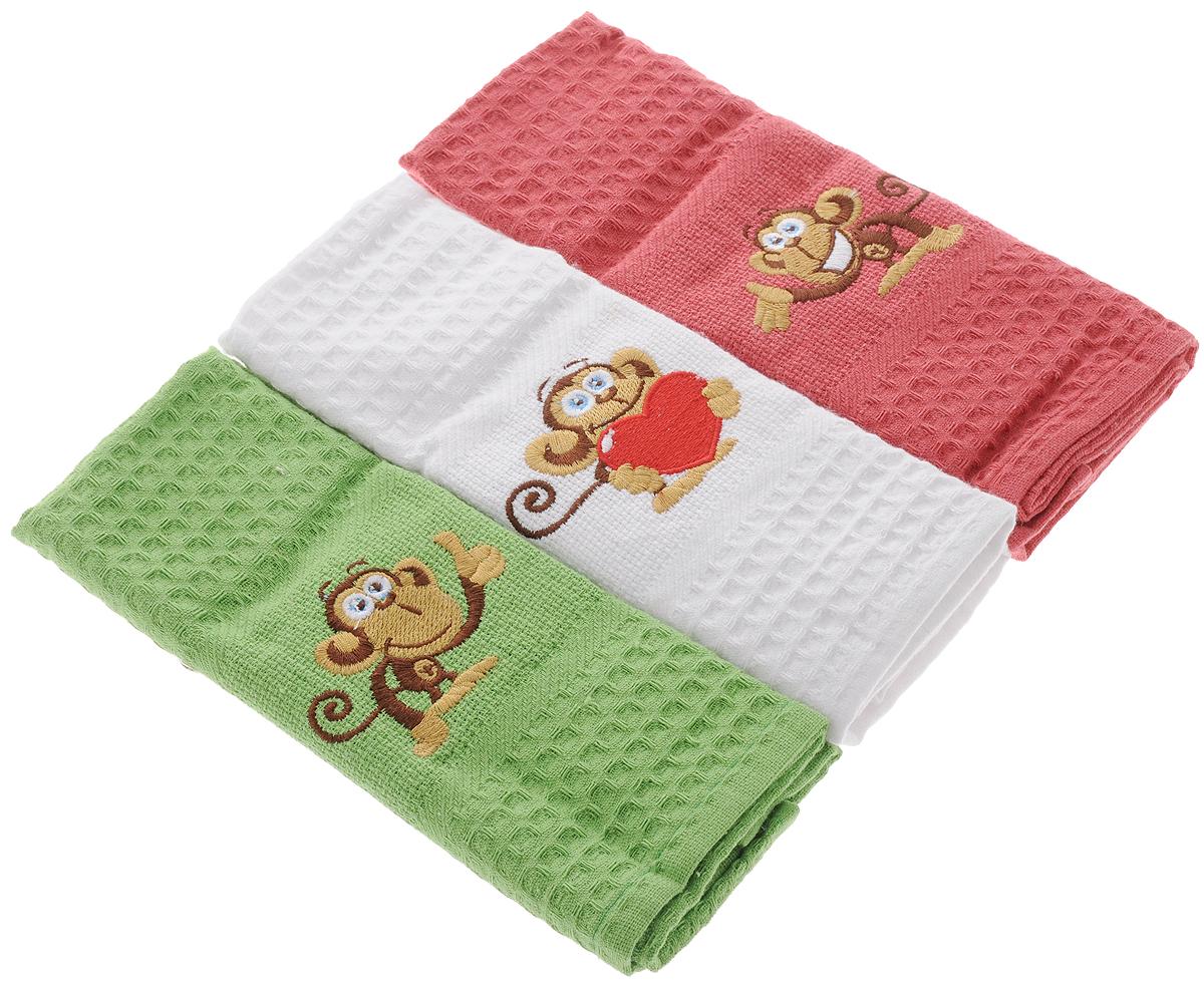 Набор кухонных полотенец Soavita Monkey, 40 х 60 см, 3 шт80586Набор Soavita Monkey состоит из трех полотенец, выполненных из 100% хлопка. Изделия предназначены для использования на кухне и в столовой. Полотенца упакованы в пластиковую сумку с текстильной ручкой. Набор полотенец Soavita Monkey - отличное приобретение для каждой хозяйки. Комплектация: 3 шт.