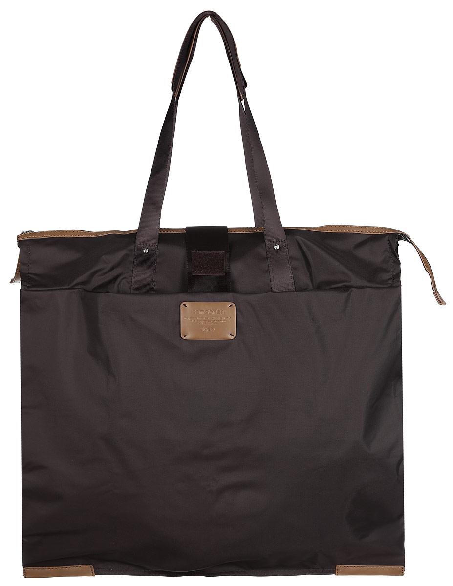 Сумка складная Samsonite, цвет: темно-коричневый. 52V-3700352V-37003Складная женская сумка Samsonite выполнена из полиамида с добавлением полиуретана и оформлена контрастными вставками и нашивкой логотипа бренда. Изделие содержит одно вместительное отделение, закрывающееся на застежку-молнию. На внешней стороне сумки есть прорезной открытый карман. Сумка оснащена двумя удобными ручками, высота которых позволяет носить сумку как в руке, так и на плече. Сумка не имеет жесткой структуры, за счет чего быстро складывается и фиксируется хлястиком с липучкой и не занимает много места. Такая сумка будет удобна в хранении и в использовании.