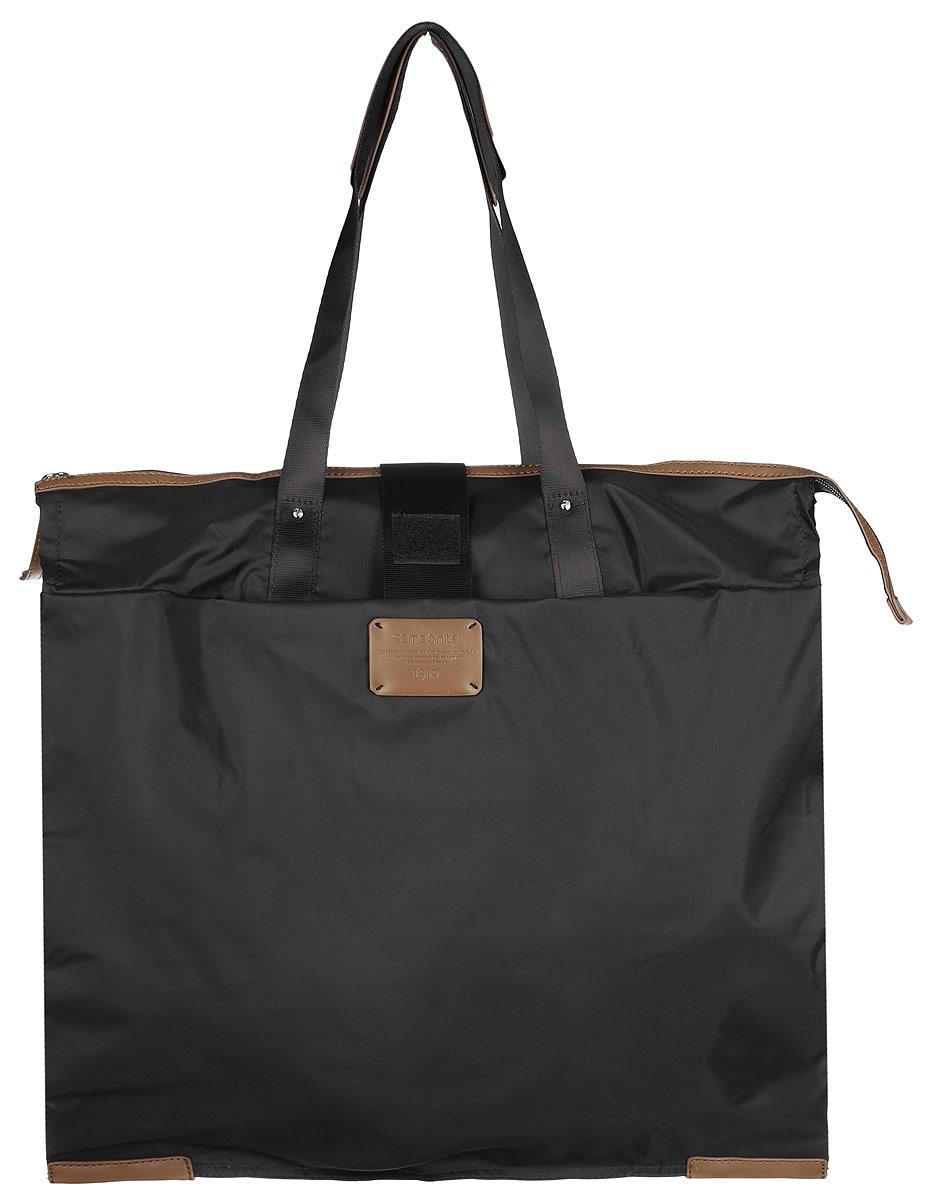 Сумка складная Samsonite, цвет: черный. 52V-0900352V-09003Складная женская сумка Samsonite выполнена из полиамида с добавлением полиуретана и оформлена контрастными вставками и нашивкой логотипа бренда. Изделие содержит одно вместительное отделение, закрывающееся на застежку-молнию. На внешней стороне сумки есть прорезной открытый карман. Сумка оснащена двумя удобными ручками, высота которых позволяет носить сумку как в руке, так и на плече. Сумка не имеет жесткой структуры, за счет чего быстро складывается и фиксируется хлястиком с липучкой и не занимает много места. Такая сумка будет удобна в хранении и в использовании.