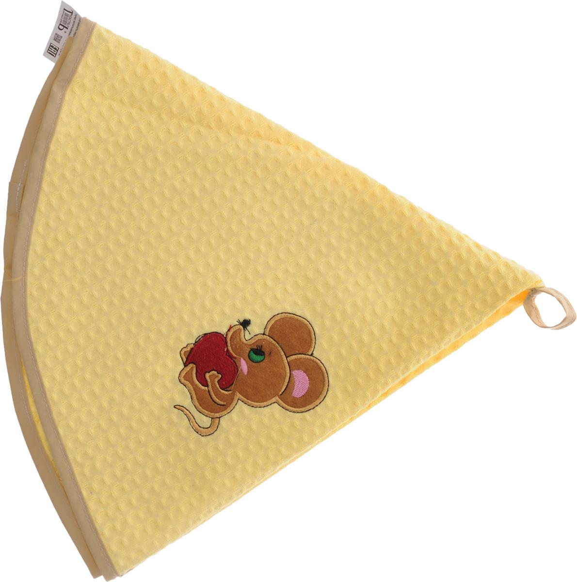 Полотенце кухонное Soavita, цвет: желтый, диаметр 65 см48798Кухонное полотенце Soavita, выполненное из 100% хлопка, оформлено вышитым рисунком в виде мышонка с сердцем. Изделие предназначено для использования на кухне и в столовой. Имеется петелька для подвешивания. Такое полотенце станет отличным вариантом для практичной и современной хозяйки. Диаметр полотенца: 65 см.