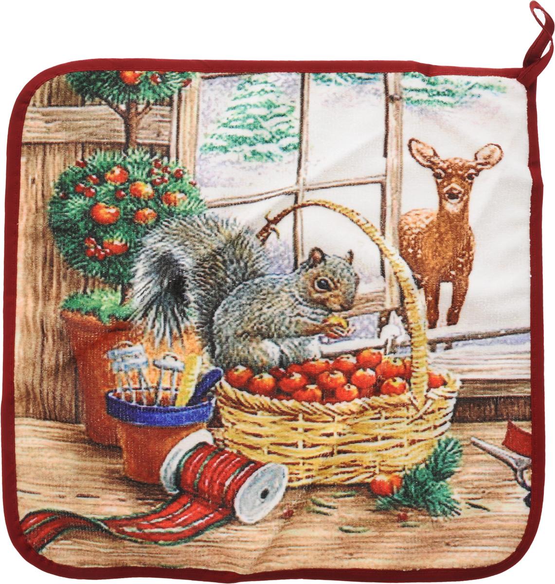 Салфетка кухонная Soavita Новогоднее, 30 х 30 см74717Кухонная салфетка Soavita Новогоднее выполнена из высококачественной микрофибры (80% полиэстер, 20% полиамид) и оснащена петелькой для подвешивания. Изделие отлично впитывает влагу, быстро сохнет, сохраняет яркость цвета и не теряет форму даже после многократных стирок. Салфетка очень практична и неприхотлива в уходе. Она создаст прекрасное настроение и украсит интерьер вашей кухни.