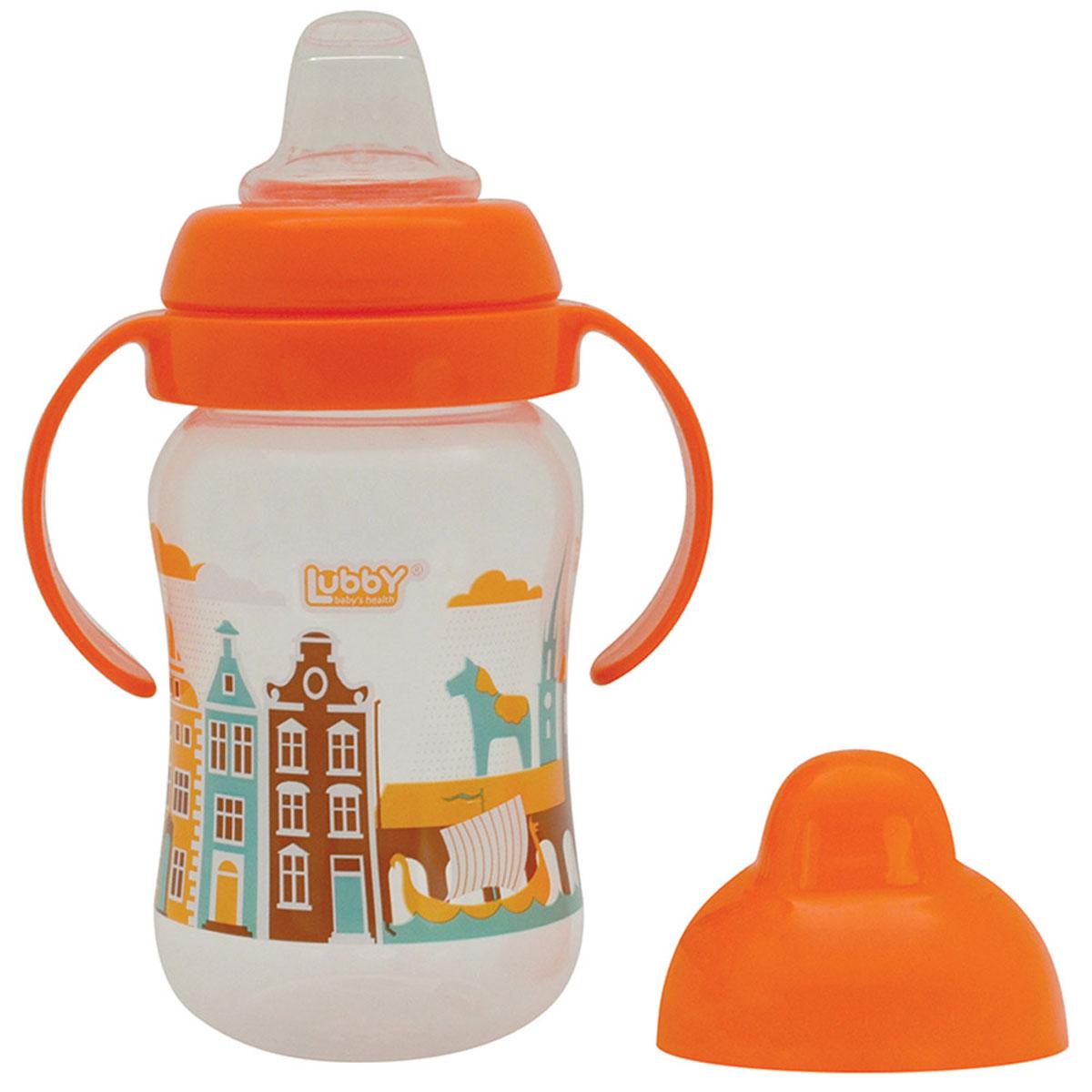 Lubby Поильник-непроливайка Любимый от 6 месяцев цвет оранжевый 250 мл