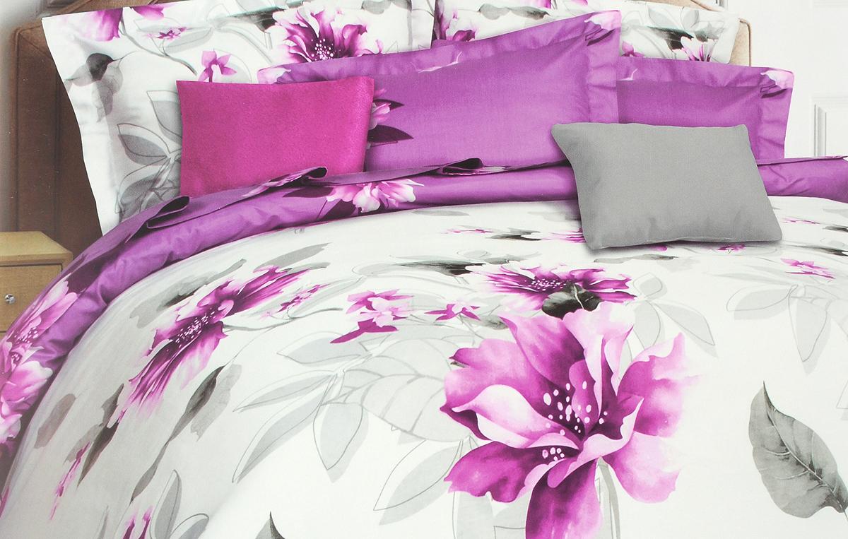 Комплект белья Mona Liza Calisto, семейный, наволочки 50х70 и 70x70, цвет: белый, фиолетовый, серый5045/08Комплект белья Mona Liza Calisto, выполненный из сатина (100% хлопок), состоит из двух пододеяльников на пуговицах, простыни и четырех наволочек. Изделия оформлены изящным цветочным рисунком. Сатин - прочная, легкая и мягкая на ощупь ткань. Белье из него не линяет при стирке и легко гладится. Эта ткань традиционно считается одной из лучших для изготовления постельного белья.