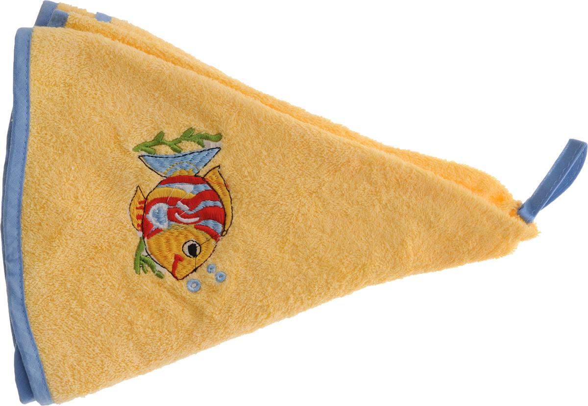 Полотенце Soavita Рыбка, цвет: желтый, голубой, диаметр 70 см48812Круглое полотенце Soavita Рыбка выполнено из 100% хлопка. Изделие отлично впитывает влагу, быстро сохнет, сохраняет яркость цвета и не теряет форму даже после многократных стирок. Полотенце очень практично и неприхотливо в уходе. Оно создаст прекрасное настроение и украсит интерьер.