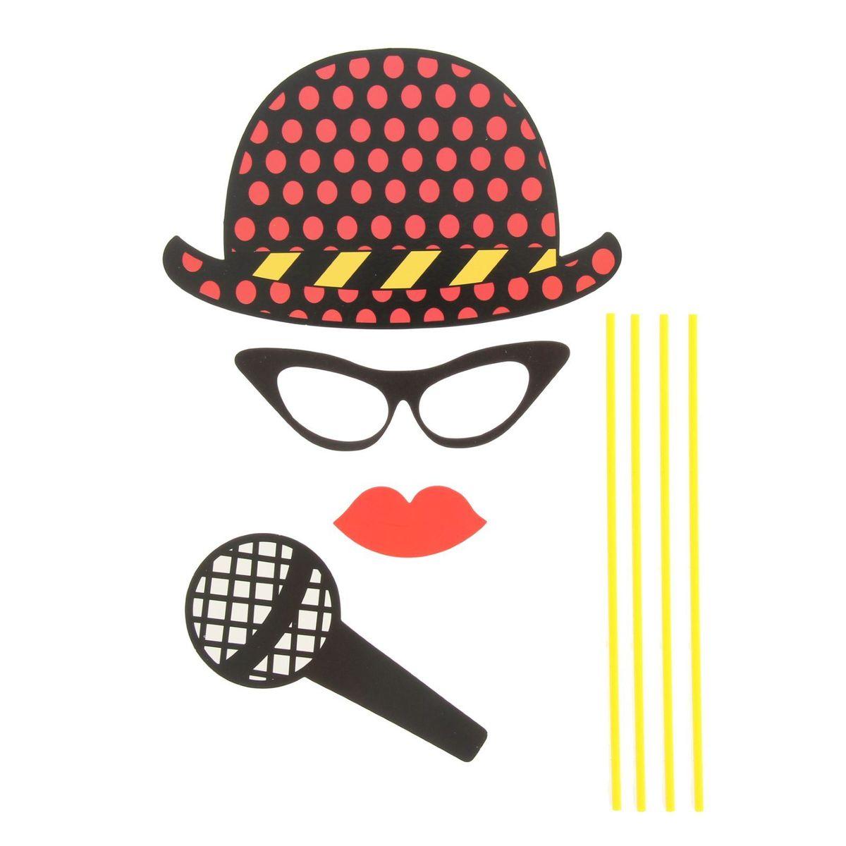 Карнавальный набор для фотосессии Страна Карнавалия Солист, 4 предмета: шляпа, очки, губы, микрофон1090266Невозможно представить нашу жизнь без праздников! Мы всегда ждем и предвкушаем их, обдумываем, как проведем памятный день, тщательно выбираем подарки и аксессуары, ведь именно они создают и поддерживают праздничный настрой. Аксессуары для фотосессии на палочке - это отличный выбор, который привнесет атмосферу праздника в ваш дом!