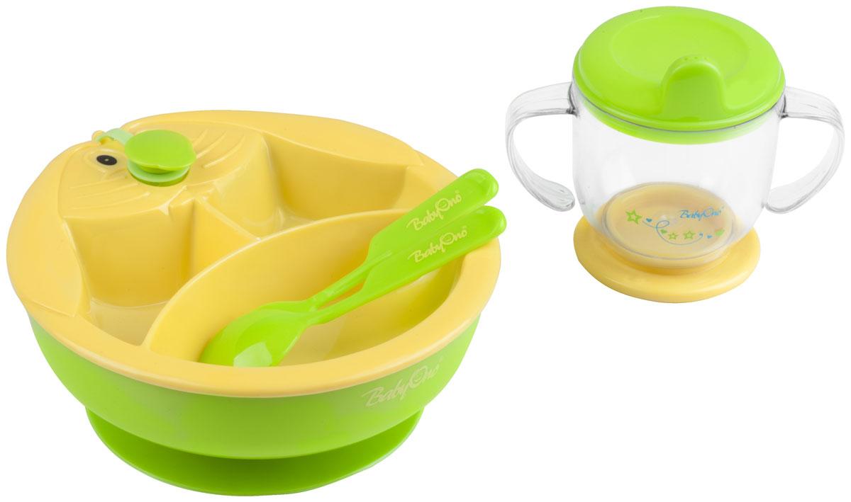 BabyOno Набор посуды для кормления цвет желтый зеленый 4 предмета238_желтый, зеленыйНабор посуды для кормления BabyOno - идеальный набор для освоения навыков самостоятельного приема пищи. В набор входят тарелка с подогревом, позволяет удерживать соответствующую температуру еды во время кормления. Тарелка имеет двойное дно, в нижнюю часть заливается горячая вода, подогревающая еду, которая находится в тарелке. Тарелка оснащена тремя перегородками, благодаря которым разные блюда можно подавать отдельно. Присоска фиксирует тарелку, благодаря чему тарелка не передвигается по столу и еда не разливается. Для того, чтобы в двойное дно тарелки влить воду, необходимо открыть крышку, находящуюся в верхней части тарелки и влить в отверстие горячую воду (не кипяток), после чего закрыть крышку. Тренировочная кружка , эргономичные ручки которой отлично подходят к маленьким ручкам малыша, благодаря чему ребенку удобно держать кружечку в руках и подносить ее ко рту. Тренировочная кружечка, эргономические ручки которой отлично подходят к маленьким...