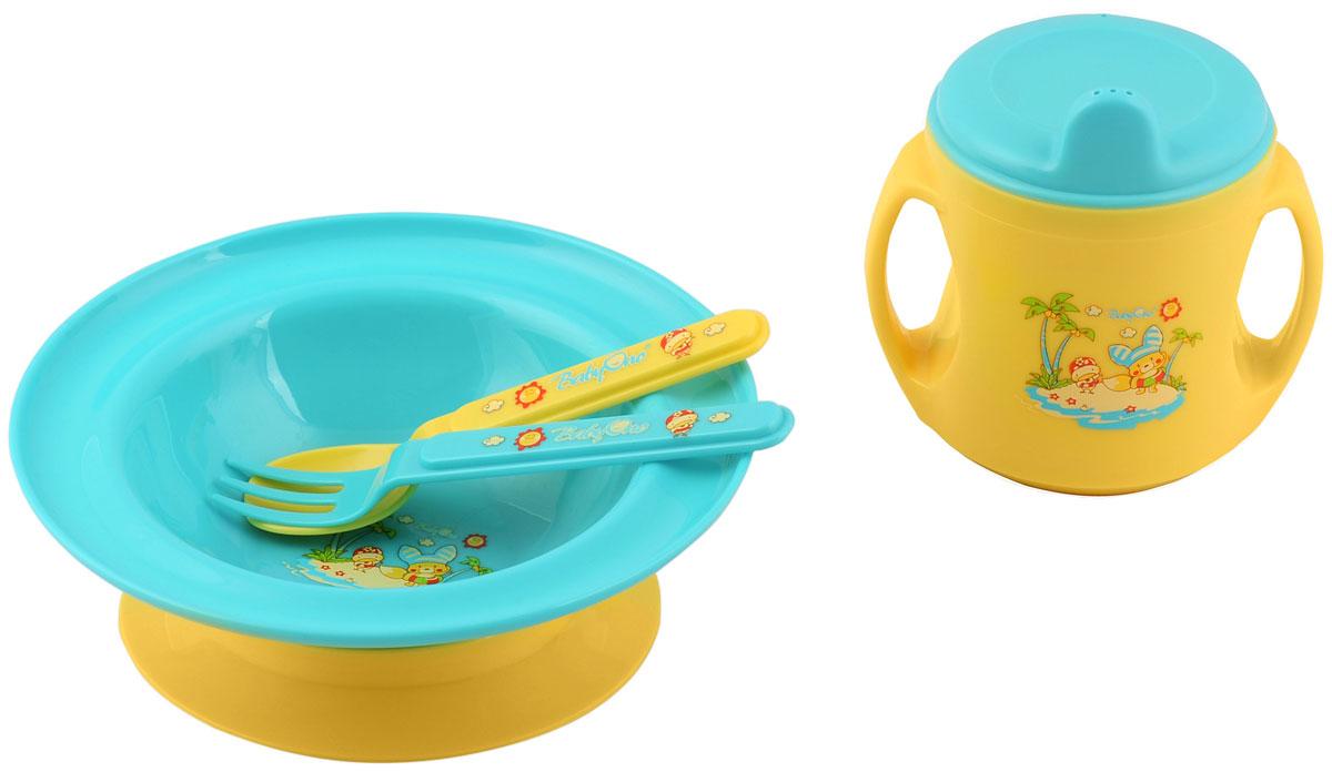 BabyOno Набор посуды для кормления цвет желтый голубой 4 предмета 245245_голубой, желтыйНабор посуды для кормления BabyOno необходим, особенно когда ребенок учиться кушать самостоятельно. В набор входят глубокая тарелка с широкими краями и присоской, благодаря которой тарелочка не передвигается по столу. Тренировочная кружечка, эргономические ручки которой отлично подходят к маленьким ручкам малыша, благодаря чему ребенку удобно держать кружечку в руках и подносить ее ко рту. На кружечке нанесена мерная шкала. Также в набор входят вилочка и ложечка. Перед первым применением необходимо тщательно вымыть набор. Не содержит бисфенол А. Товар сертифицирован.