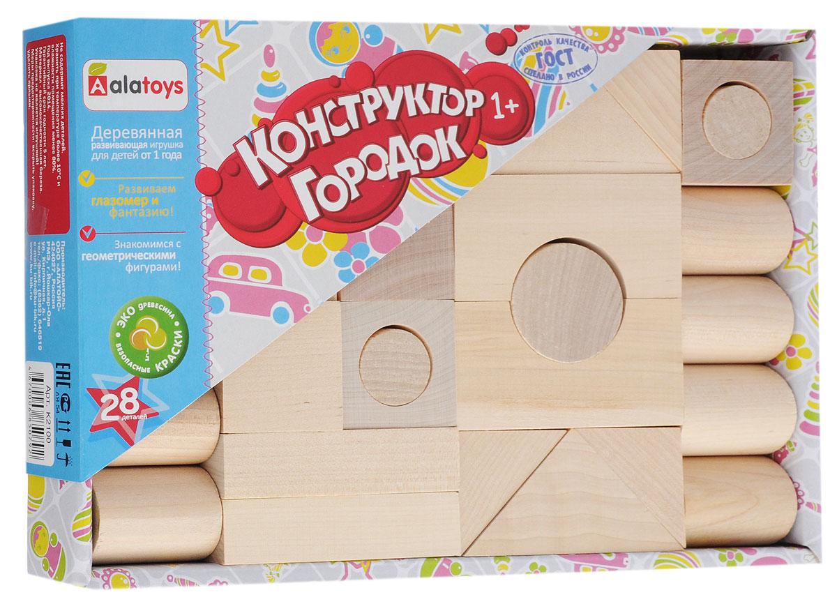 Alatoys Конструктор Городок К2100К2100Конструктор Alatoys Городок - это замечательный развивающий набор, который отвечает всем требованиям, предъявляемым детским игрушкам. Здоровье ребенка: Игрушка совершенно безопасна для здоровья малыша в силу того, что ее детали изготовлены из натурального и экологически чистого материала - древесины березы. Развитие ребенка: В процессе игры с конструктором у ребенка развиваются: Творческие способности; Мелкая моторика рук; Логическое мышление; Пространственное воображение; Внимание. Надежность игрушки: Конструктор будет радовать малыша долгое время, потому что его элементы изготовлены из прочных и качественных материалов. Детали набора ребенок не сломает и не разобьет, они будут оставаться целыми и невредимыми! Интерес: Вашему ребенку будет интересно играть с этим набором, придумывая различные конструкции. Вы и ваш малыш сможете собирать замки, машинки, животных и другие интересные...
