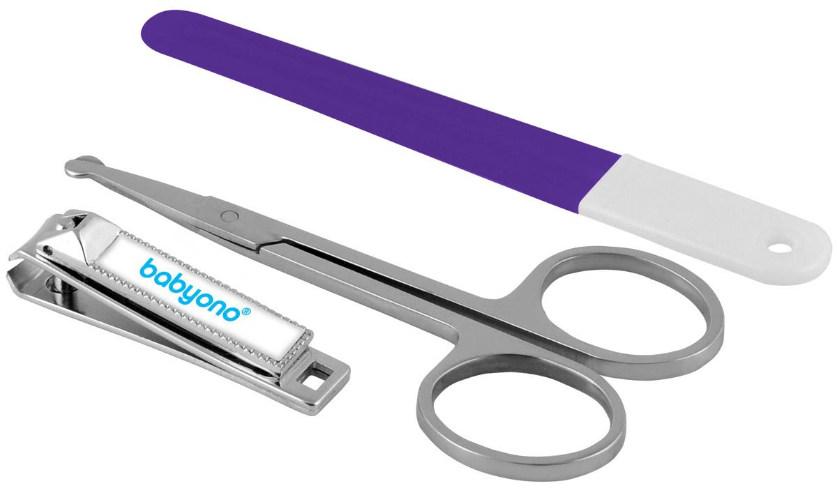 BabyOno Маникюрный набор для детей цвет фиолетовый 3 предметаО68Маникюрный набор для детей BabyOno включает в себя маникюрные ножницы, щипчики и пилку. Ножницы с щипчиками помогут аккуратно срезать маленькие ноготки, и при необходимости подравнять их пилочкой. Для детей от 0 месяцев.