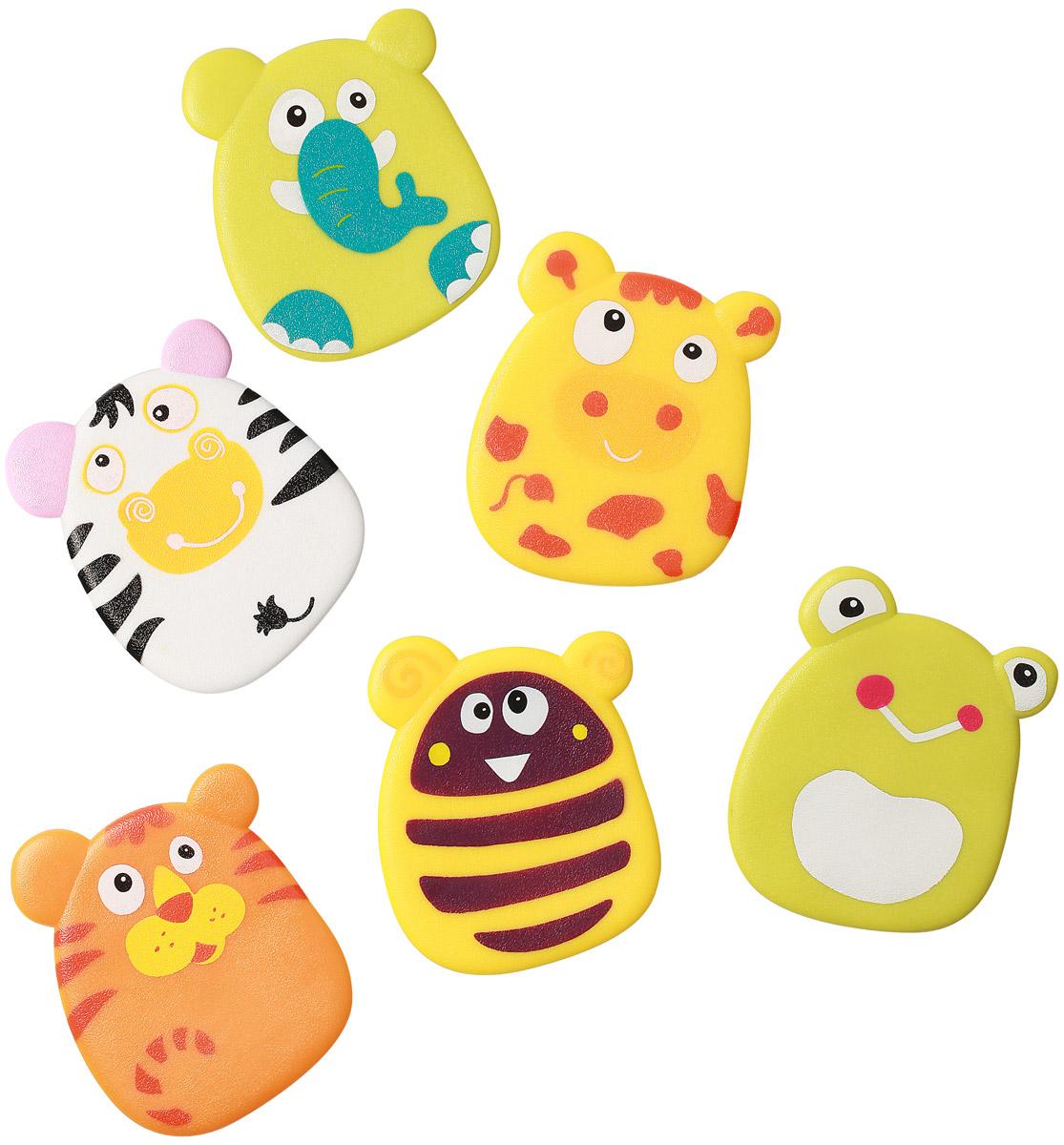 BabyOno Набор игрушек для ванной Funny цвет желтый оранжевый белый 6 шт533_желтый, оранжевый, белыйНабор игрушек для ванной BabyOno Funny создан специально для того, чтобы малыш смог весело играть в ванной во время купания, не боясь при этом поскользнуться на мокром дне или полу. Дизайн представлен в виде забавных животных. Игрушки стимулируют развитие воображения и мелкой моторики ребенка. Игрушки могут выполнять функции мини-противоскользящих ковриков. С помощью специальных присосок игрушки крепятся к любой поверхности: ванне, плитке, душевой кабине, благодаря чему ребенок может их перемещать в любое место. В наборе 6 игрушек. Товар сертифицирован.
