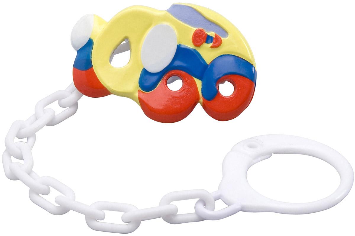 BabyOno Клипса-держатель для пустышки Машинка074Клипса-держатель для пустышки BabyOno Машинка с цепочкой незаменима для прогулок. Специальная клипса прочно крепится к одежде ребенка и предохраняет пустышку от случайного падения и загрязнения. Расстегните специальное кольцо клипсы, прикрепите его к пустышке. С другой стороны клипсу необходимо пристегнуть к одежде малыша при помощи специальной застежки. Мыть теплой водой с мылом, тщательно ополаскивать. Товар сертифицирован.