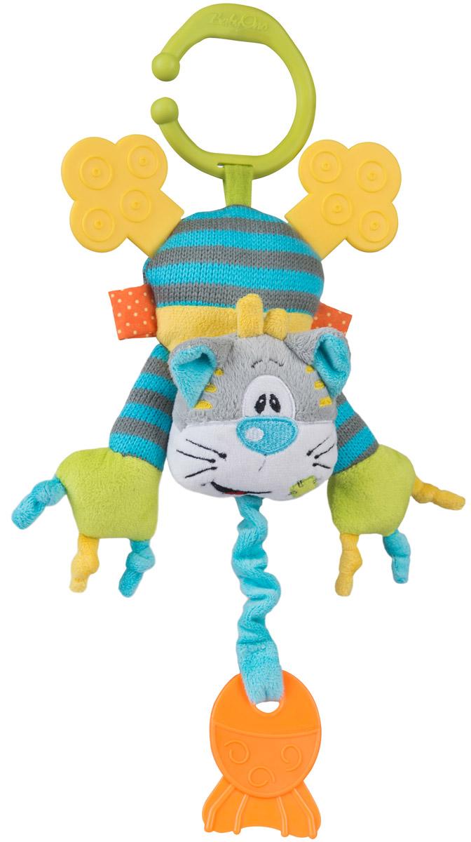 BabyOno Игрушка-подвеска Котик1398Игрушка-подвеска BabyOno Котик, несомненно, придется по душе вашему малышу. Игрушка выполнена из текстильных материалов в виде очаровательного котенка. Внутри туловища игрушки расположен колокольчик, звенящий при тряске, а в лапках - шуршащий элемент и пищалка. Задние лапки могут использоваться как прорезыватель. К голове котика крепится веревочка, потянув за которую игрушка начнет вибрировать до тех пор, пока веревочка не вернется в исходное положение. С помощью незамкнутого пластикового кольца игрушку легко можно прикрепить к детской кроватке, коляске или автомобильному креслу. Игрушка-подвеска BabyOno Котик поможет развить у малыша мелкую моторику рук, звуковое и зрительное восприятия, тактильные ощущения, координацию движений, а милый жизнерадостный образ подарит малышу хорошее настроение! Товар сертифицирован.