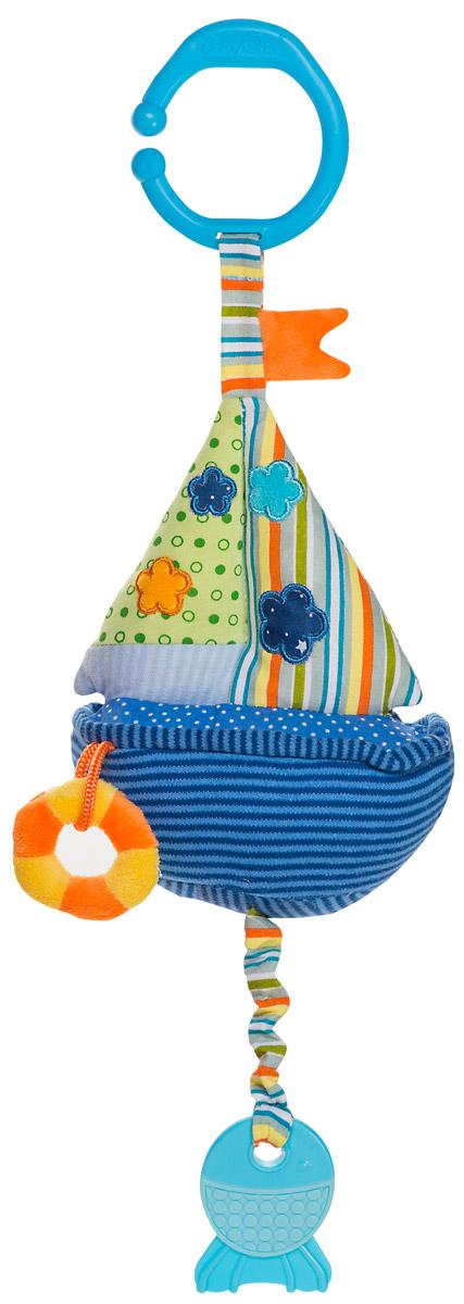 BabyOno Игрушка-подвеска Парусник1391Игрушка-подвеска BabyOno Парусник со звуком воды и прорезывателем - это игрушка, благодаря которой ваш ребенок будет с радостью открывать мир цветов, форм и звуков. Прорезыватель поможет малышу в период, когда у него будут резаться первые зубки. Подвижные элементы подвески способствуют развитию осязания, зрения и слуха ребенка. С помощью незамкнутого пластикового кольца игрушку легко можно прикрепить к детской кроватке, коляске или автомобильному креслу. Игрушка выполнена из качественных и безопасных материалов. Товар сертифицирован.