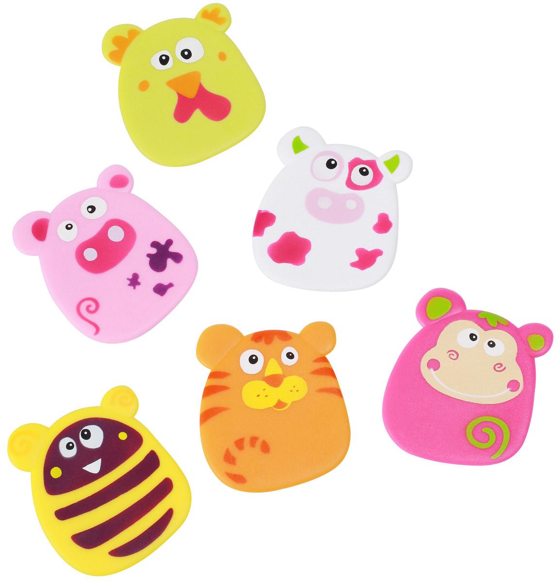 BabyOno Набор игрушек для ванной Funny цвет розовый желтый оранжевый 6 шт533Набор игрушек для ванной BabyOno Funny создан специально для того, чтобы малыш смог весело играть в ванной во время купания, не боясь при этом поскользнуться на мокром дне или полу. Дизайн представлен в виде забавных животных. Игрушки стимулируют развитие воображения и мелкой моторики ребенка. Игрушка может выполнять функции мини-противоскользящих ковриков. С помощью специальных присосок игрушки крепятся к любой поверхности: ванне, плитке, душевой кабине, благодаря чему ребенок может их перемещать в любое место. В наборе 6 игрушек. Товар сертифицирован.