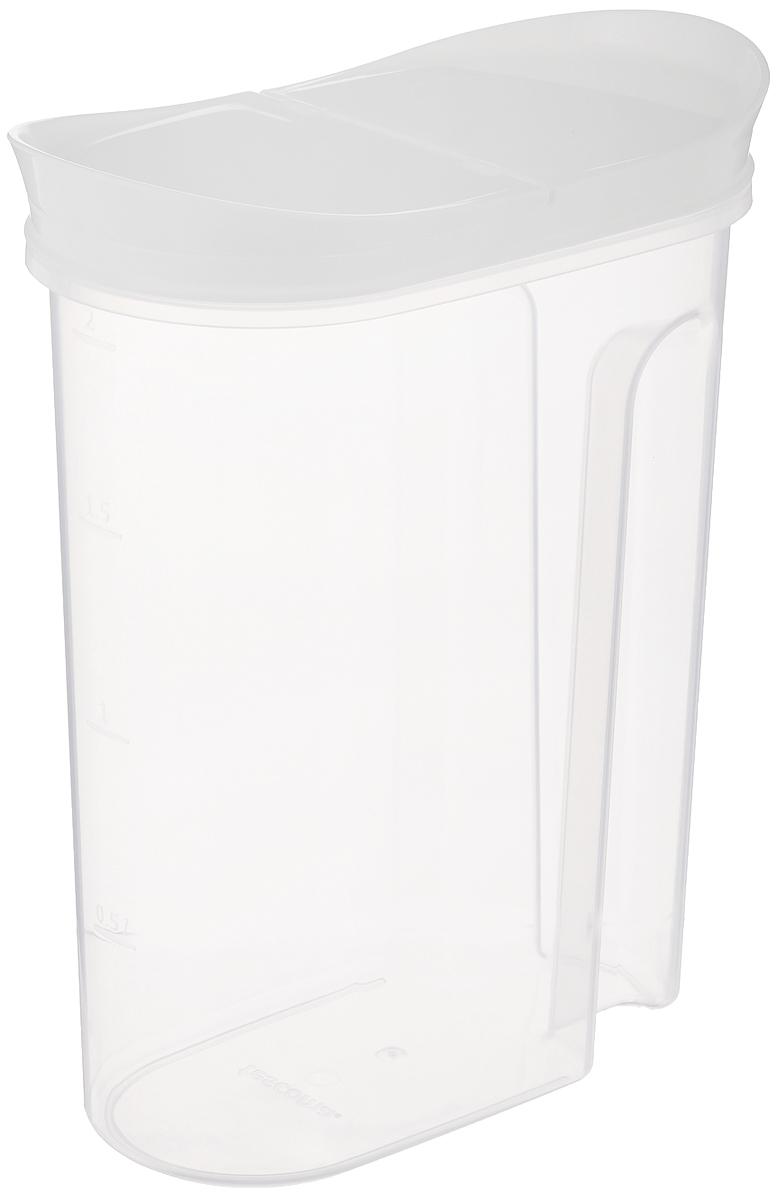 Контейнер для сыпучих продуктов Tescoma 4food, 2 л896954Контейнер с откидной крышкой Tescoma 4food изготовлен из высококачественного пластика и дополнен мерной шкалой. Изделие подходит для длительного хранения и дозирования продуктов питания. Исключительный внешний вид изделия идеально подходит для любого интерьера. Можно мыть в посудомоечной машине. Подходит для морозильной камеры.