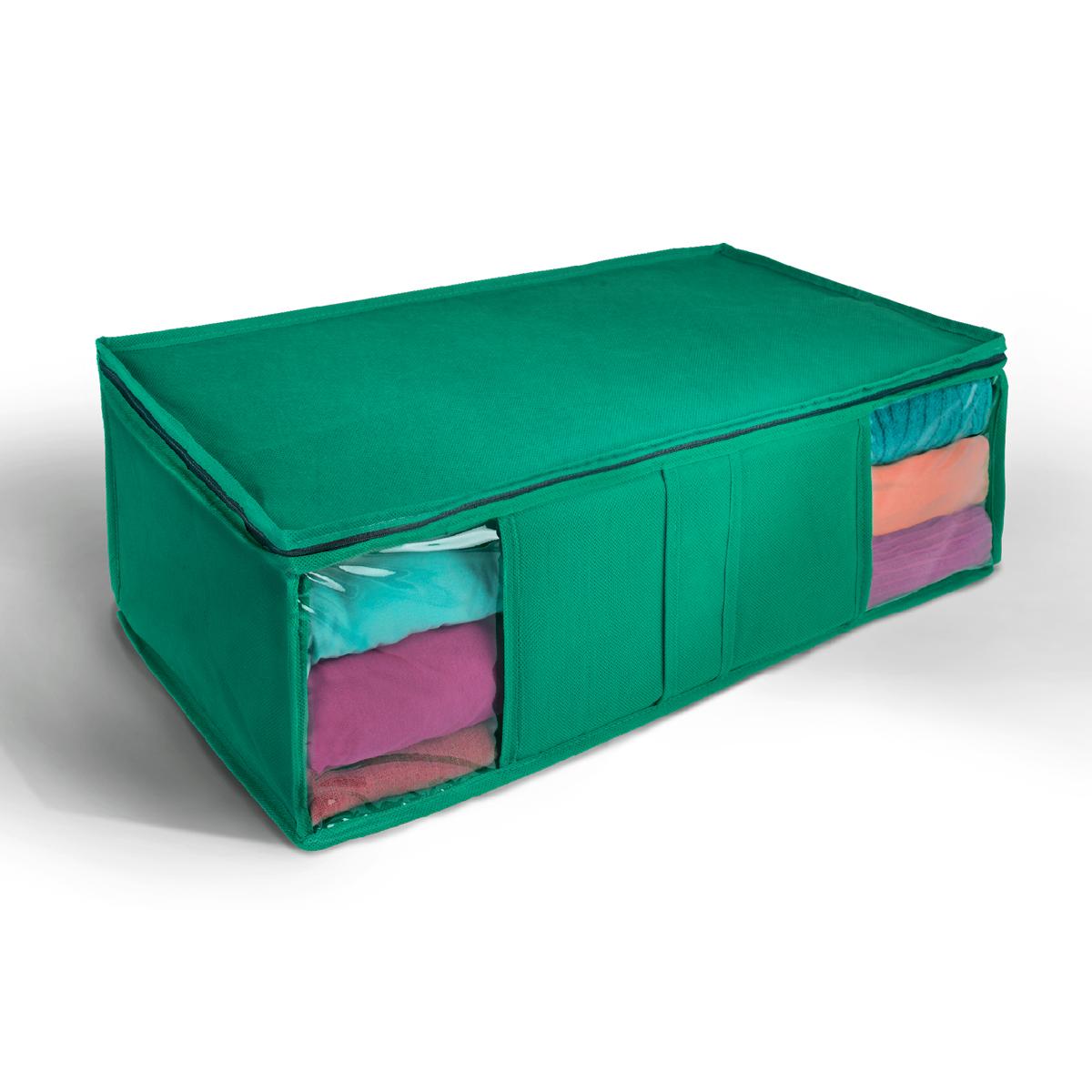 Кофр для хранения Miolla, цвет: зеленый, 60 х 30 х 20 см. CHL-10-2CHL-10-2Ящик текстильный для хранения вещей 60 x 30 x 20 см зеленый
