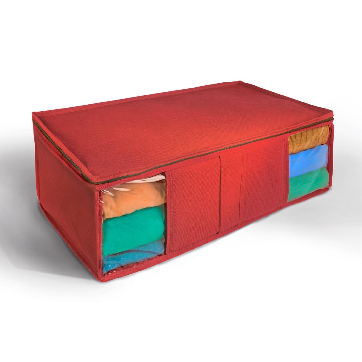 Кофр для хранения Miolla, цвет: красный, 60 х 30 х 20 смCHL-10-3Ящик текстильный для хранения вещей 60 x 30 x 20 см красный