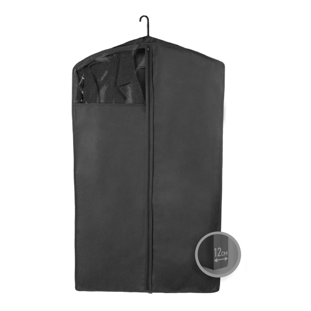 Чехол для верхней одежды Miolla, с окошком, цвет: черный, 100 х 60 х 12 смCHL-3-4Чехол для верхней одежды Miolla на застежке-молнии выполнен из высококачественного нетканого материала. Прозрачное полиэтиленовое окошко позволяет видеть содержимое чехла. Подходит для длительного хранения вещей. Чехол обеспечивает вашей одежде надежную защиту от влажности, повреждений и грязи при транспортировке, от запыления при хранении и проникновения моли. Чехол обладает водоотталкивающими свойствами, а также позволяет воздуху свободно поступать внутрь вещей, обеспечивая их кондиционирование. Это особенно важно при хранении кожаных и меховых изделий. Размер чехла: 100 х 60 х 12 см.