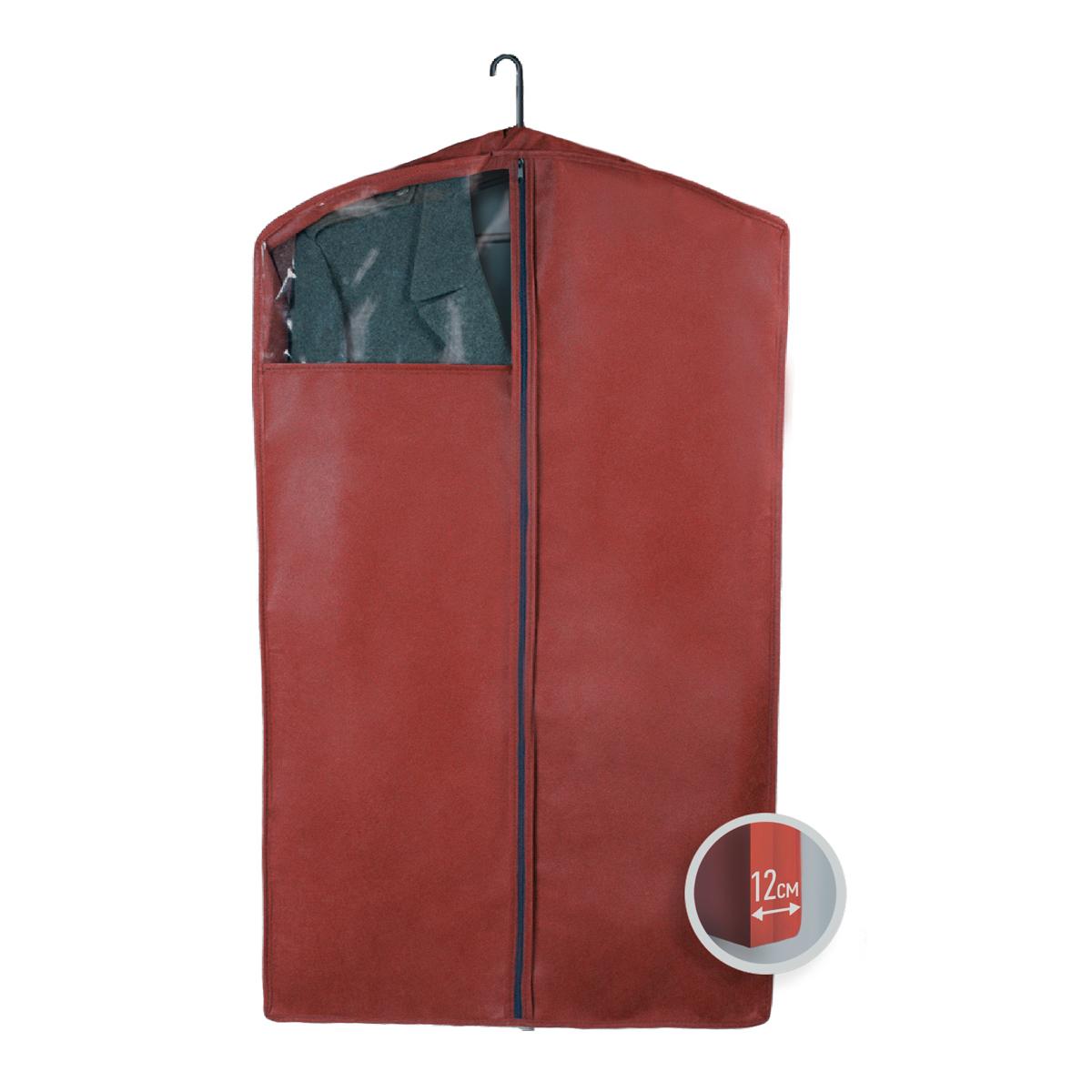 Чехол для верхней одежды Miolla, с окошком, цвет: бордовый, 100 х 60 х 12 смCHL-3-5Чехол для верхней одежды Miolla на застежке-молнии выполнен из высококачественного нетканого материала. Прозрачное полиэтиленовое окошко позволяет видеть содержимое чехла. Подходит для длительного хранения вещей. Чехол обеспечивает вашей одежде надежную защиту от влажности, повреждений и грязи при транспортировке, от запыления при хранении и проникновения моли. Чехол обладает водоотталкивающими свойствами, а также позволяет воздуху свободно поступать внутрь вещей, обеспечивая их кондиционирование. Это особенно важно при хранении кожаных и меховых изделий. Размер чехла: 100 х 60 х 12 см.