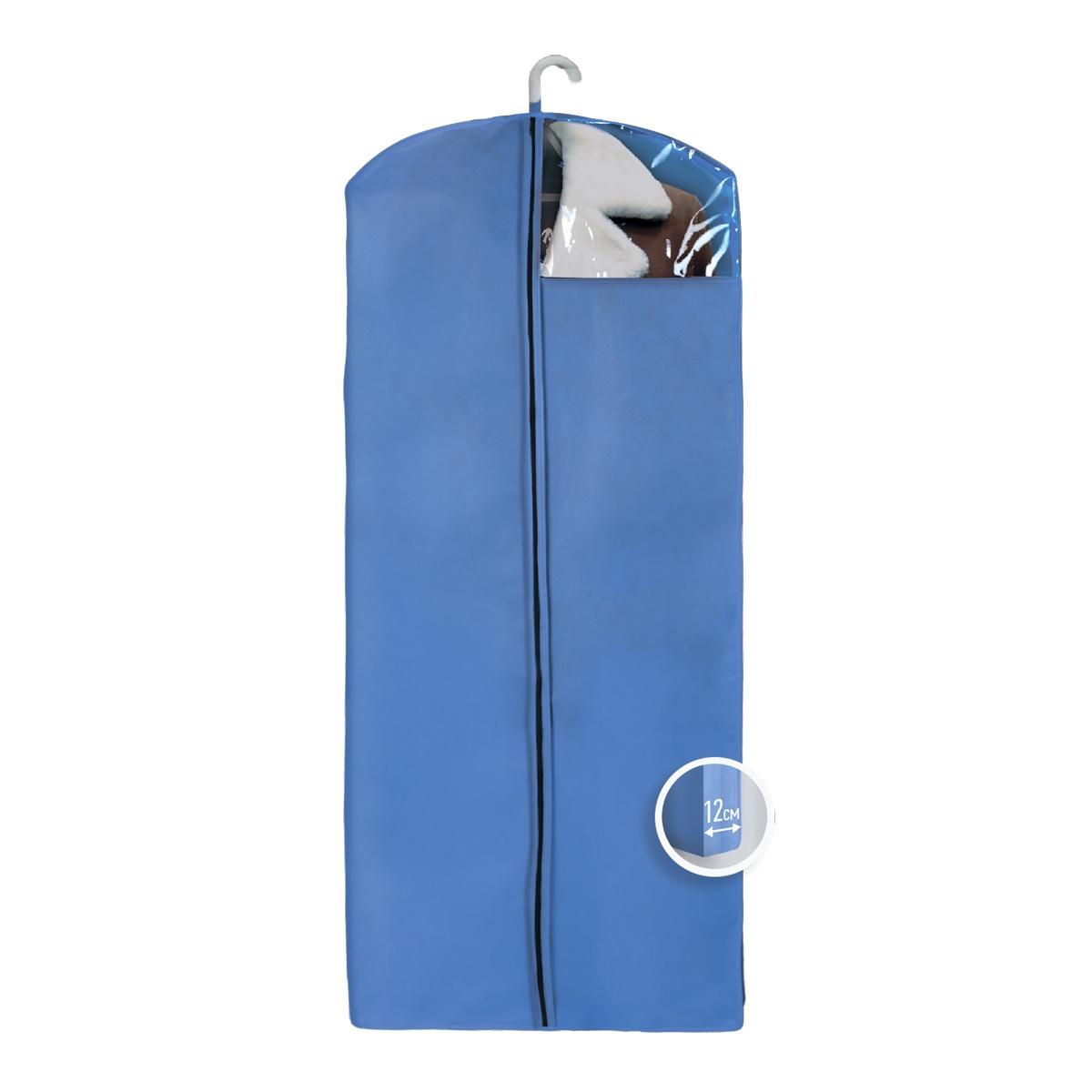 Чехол для верхней одежды Miolla, с окошком, цвет: синий, 140 х 60 х 12 смCHL-4-1Чехол для верхней одежды Miolla на застежке-молнии выполнен из высококачественного нетканого материала. Прозрачное полиэтиленовое окошко позволяет видеть содержимое чехла. Подходит для длительного хранения вещей. Чехол обеспечивает вашей одежде надежную защиту от влажности, повреждений и грязи при транспортировке, от запыления при хранении и проникновения моли. Чехол обладает водоотталкивающими свойствами, а также позволяет воздуху свободно поступать внутрь вещей, обеспечивая их кондиционирование. Это особенно важно при хранении кожаных и меховых изделий. Размер чехла: 140 х 60 х 12 см.