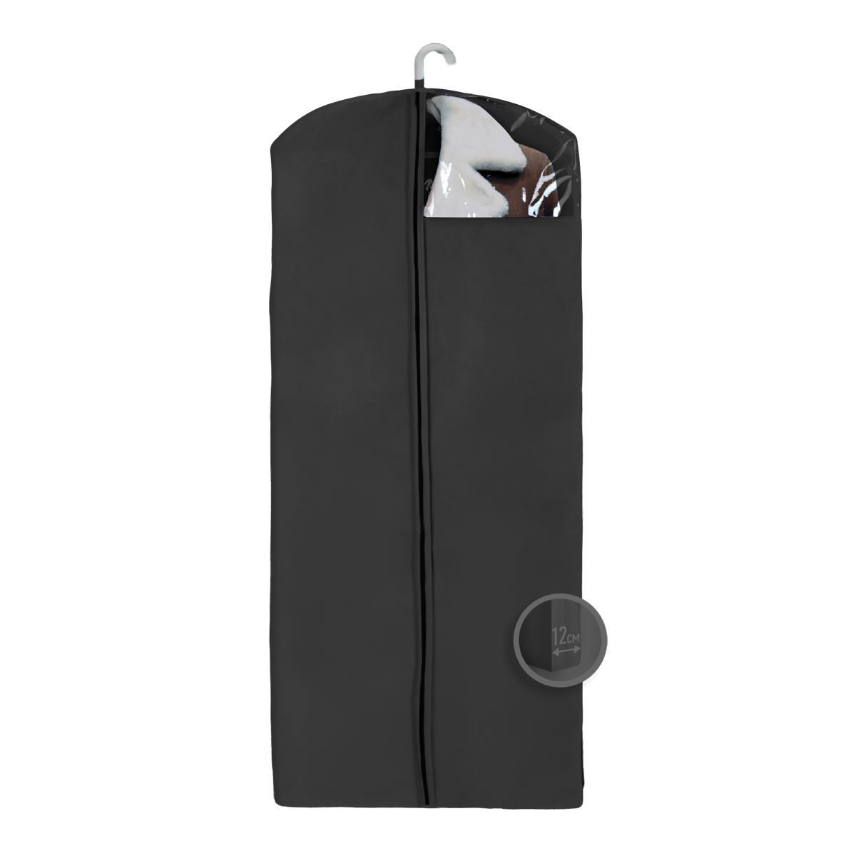Чехол для верхней одежды Miolla, цвет: черный, 140 х 60 х 12 смCHL-4-4Чехол для верхней одежды 140 x 60 x 12 см. черный