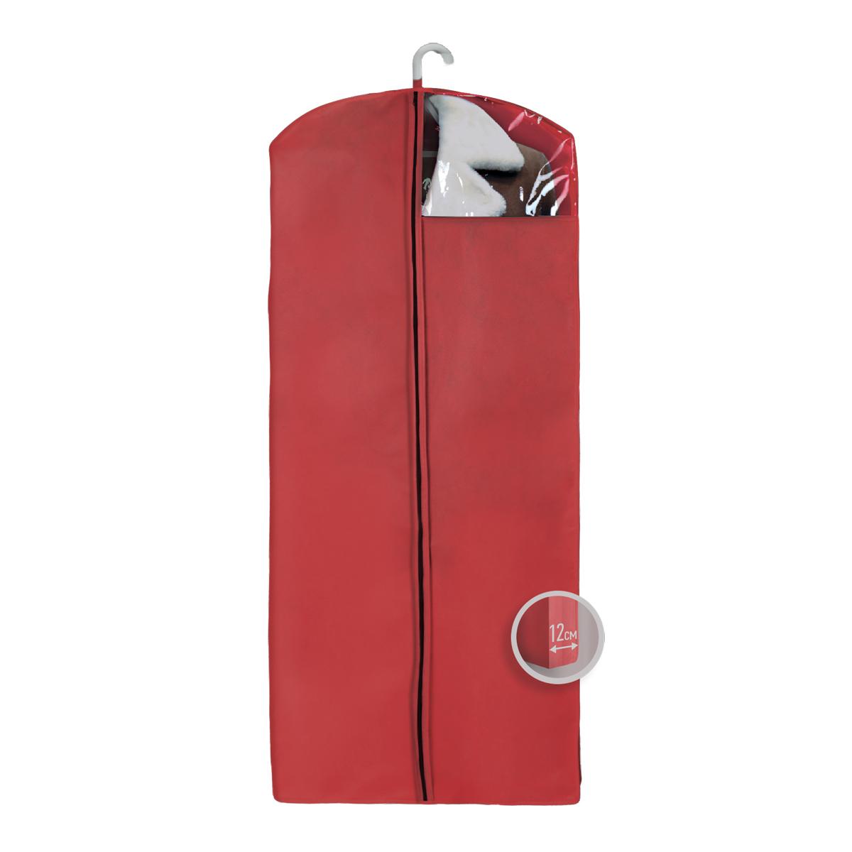 Чехол для верхней одежды Miolla, с окошком, цвет: бордовый, 140 х 60 х 12 смCHL-4-5Чехол для верхней одежды Miolla на застежке-молнии выполнен из высококачественного нетканого материала. Прозрачное полиэтиленовое окошко позволяет видеть содержимое чехла. Подходит для длительного хранения вещей. Чехол обеспечивает вашей одежде надежную защиту от влажности, повреждений и грязи при транспортировке, от запыления при хранении и проникновения моли. Чехол обладает водоотталкивающими свойствами, а также позволяет воздуху свободно поступать внутрь вещей, обеспечивая их кондиционирование. Это особенно важно при хранении кожаных и меховых изделий. Размер чехла: 140 х 60 х 12 см.