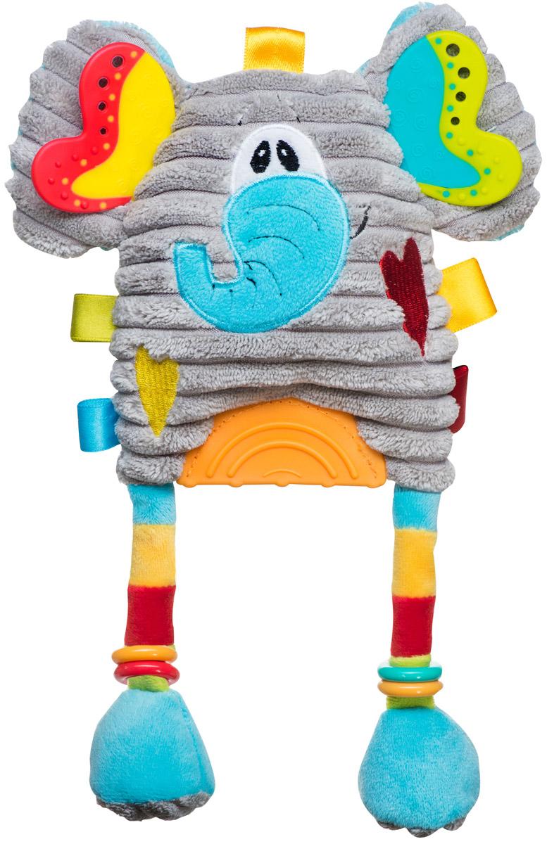 BabyOno Развивающая игрушка Слоник1386Мягкая развивающая игрушка BabyOno Слоник обязательно привлечет внимание вашего малыша. Игрушка выполнена из безопасных и приятных на ощупь материалов в виде забавного слона. В ушах слоника находятся шуршащие элементы, на теле - разноцветные ленточки. Нажав на слона, малыш услышит забавный писк. Также на теле игрушки присутствуют три прорезывателя. Игрушку легко можно прикрепить к кроватке, коляске, автокреслу или игровой дуге малыша при помощи удобной застежки-липучки. Развивающая игрушка BabyOno Слоник поможет развить сенсорные, речевые способности ребенка и общую координацию его движений. Товар сертифицирован.