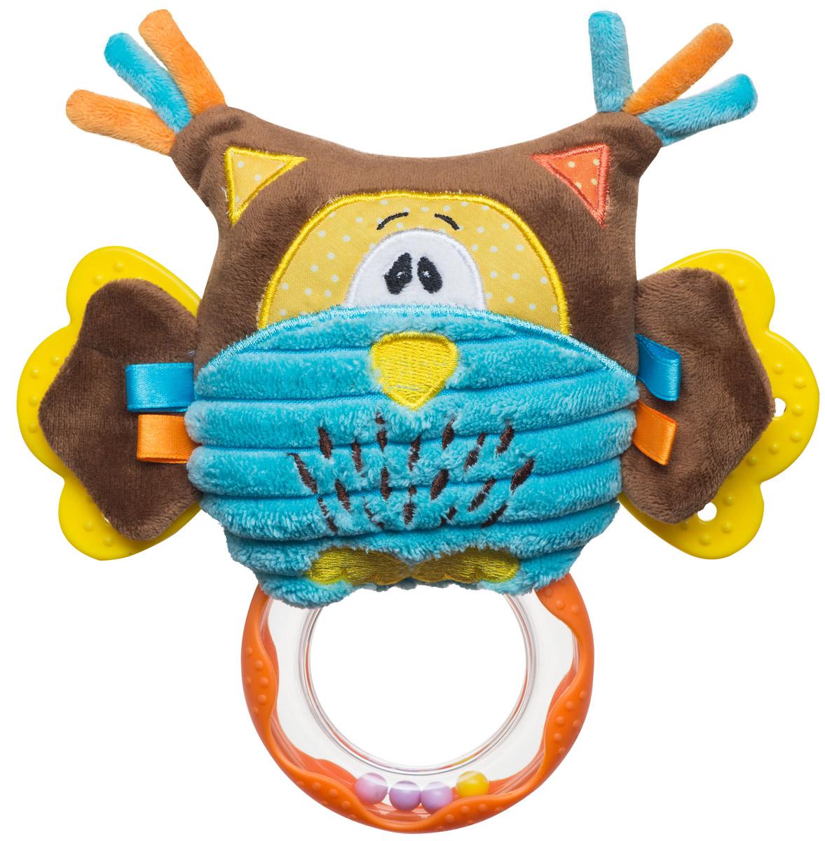 BabyOno Развивающая игрушка Совенок1388Мягкая развивающая игрушка BabyOno Совенок обязательно привлечет внимание вашего малыша. Игрушка выполнена из безопасных и приятных на ощупь материалов в виде очаровательной совы. В крыльях совы находятся шуршащие элементы, на теле - разноцветные ленточки, способствующие развитию осязания. Нажав на игрушку, малыш услышит забавный писк. Также на теле игрушки присутствуют два прорезывателя, которые помогут ребенку в период прорезывания первых зубов. К сове прикреплена погремушка, развивающая навыки захвата ладонью. Игрушку легко можно прикрепить к кроватке, коляске, автокреслу или игровой дуге малыша при помощи удобной застежки-липучки. Развивающая игрушка BabyOno Совенок поможет развить сенсорные, речевые способности ребенка и общую координацию его движений. Товар сертифицирован.