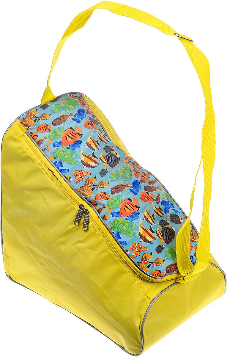 Сумка для коньков Спортивные мастерские Indigo, цвет: желтый, зеленый, голубой. Размер коньков 39-4755330_желтый с рыбкамиСпортивная сумка для коньков Спортивные мастерские Indigo выполнена из износостойкого полиэстера и оформлена ярким принтом. Изделие имеет одно вместительное отделение, которое закрывается на застежку-молнию с двумя бегунками. Снаружи, на боковой стороне сумки, расположен накладной карман. Сумка оснащена светоотражающей вставкой и практичным плечевым ремнем регулируемой длины. Практичная сумка станет незаменимым аксессуаром для занятий спортом.