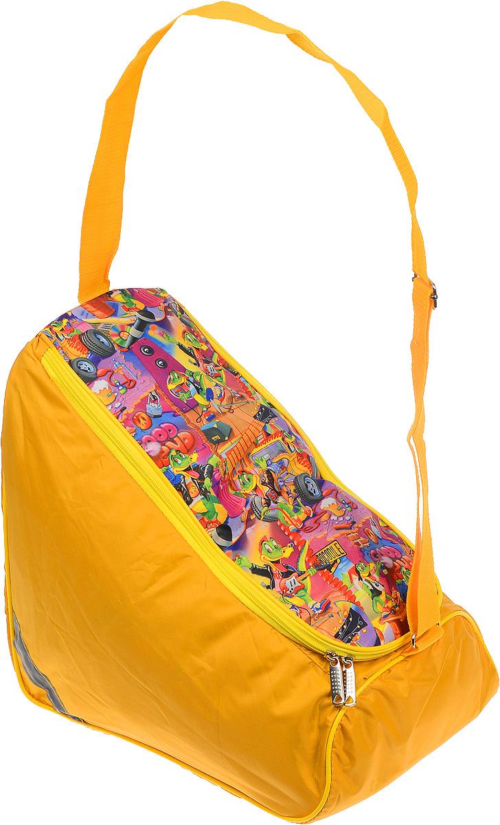 Сумка для коньков Спортивные мастерские Indigo, цвет: желтый, зеленый, розовый. Размер коньков 39-4755330Спортивная сумка для коньков Спортивные мастерские Indigo выполнена из износостойкого полиэстера и оформлена ярким принтом. Изделие имеет одно вместительное отделение, которое закрывается на застежку-молнию с двумя бегунками. Снаружи, на боковой стороне сумки, расположен накладной карман. Сумка оснащена светоотражающей вставкой и практичным плечевым ремнем регулируемой длины. Практичная сумка станет незаменимым аксессуаром для занятий спортом.