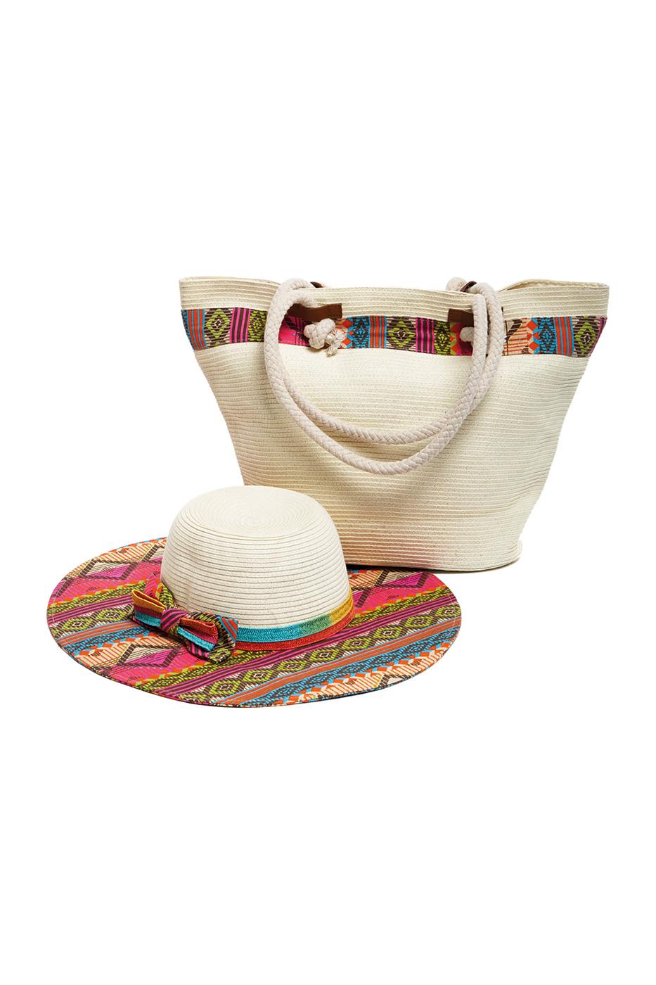 Комплект Moltini: сумка, шляпа, цвет: молочный, мультиколор. 15X00815X008Оригинальный пляжный комплект Moltini, состоящий из сумки и шляпы, выполнен из плотного текстиля. Комплект выполнен в едином стиле и оформлен контрастными оттенками. Сумка состоит из одного вместительного отделения и закрывается на магнитную кнопку. Внутри размещены два накладных кармана для телефона и мелочей и один вшитый карман на молнии. Оригинальная форма ручек и натуральные материалы делают эту сумку особенно удобной для ношения на плече. Шляпа надежно защитит волосы и лицо от ярких солнечных лучей. Шляпа выполнена в едином стиле с сумкой и достойно завершит комплект. Комплект Moltini идеально подойдет для похода на пляж, для загородной поездки.