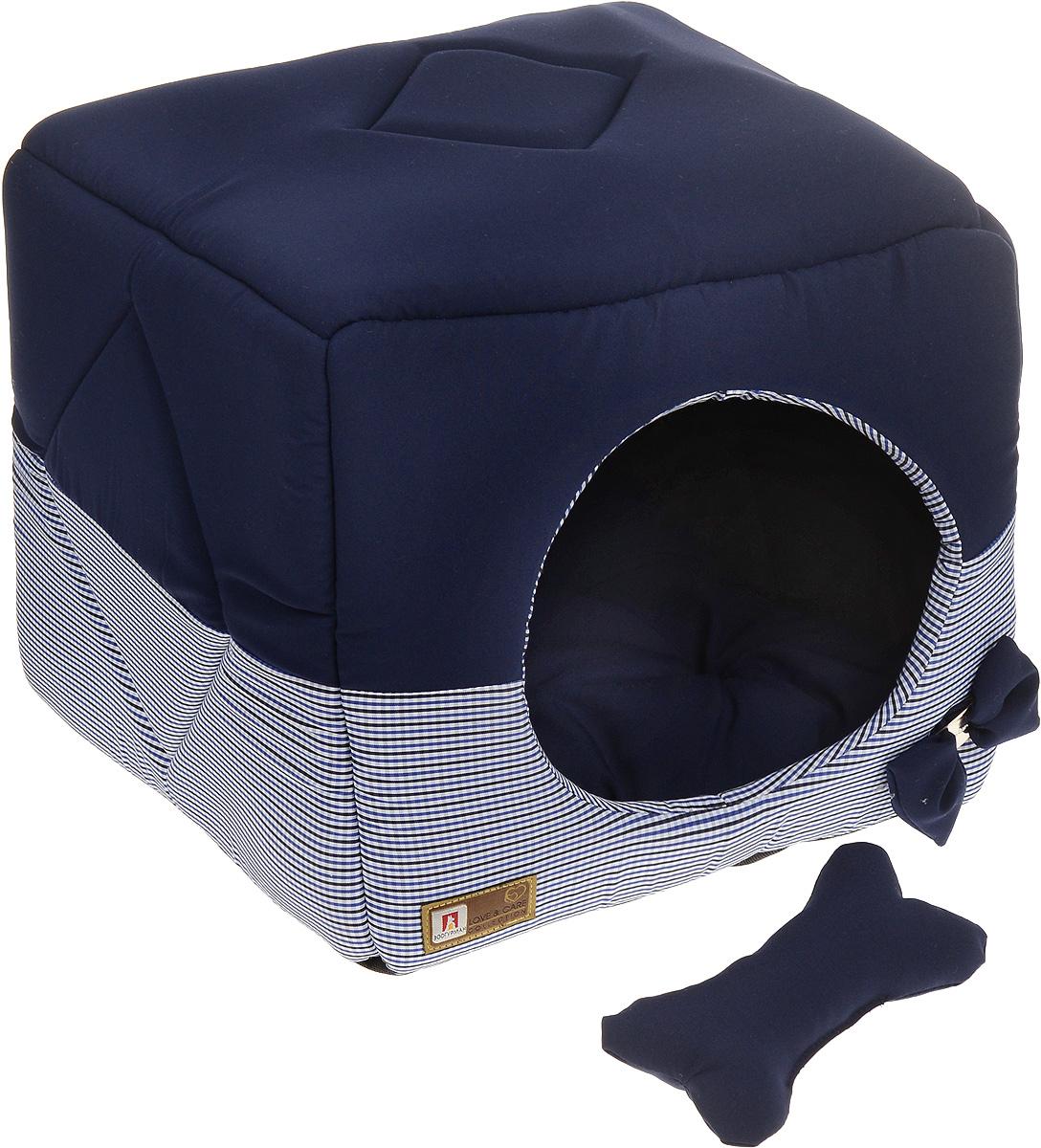 Лежак для собак и кошек Зоогурман Домосед, цвет: темно-синий, белый, 45 х 45 х 45 см1949_синийОригинальный и мягкий лежак для кошек и собак Зоогурман Домосед обязательно понравится вашему питомцу. Лежак выполнен из приятного материала. Уникальная конструкция лежака имеет два варианта использования: - лежанка с высокими бортиками и мягкой внутренней подушкой; - закрытый домик с мягкой подушкой внутри. Универсальный лежак-трансформер подарит вашему питомцу ощущение уюта и комфорта. В комплекте со съемной подушкой мягкая игрушка косточка. За изделием легко ухаживать, можно стирать вручную или в стиральной машине при температуре 40°С. Наполнитель: гипоаллергенное синтетическое волокно. Наполнитель матрасика: шерсть. Размер домика: 45 х 45 х 45 см. Размер лежанки: 45 х 45 х 20 см.