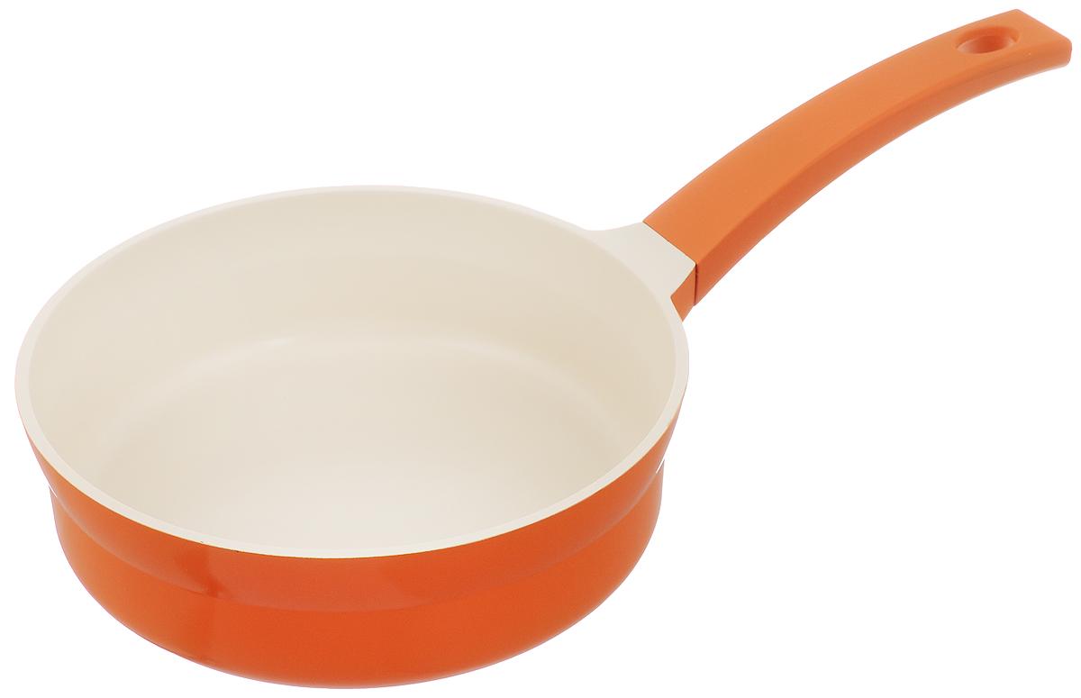 Сковорода Mayer & Boch, с керамическим покрытием, цвет: оранжевый. Диаметр 24 см. 2124221242_оранжевыйСковорода Mayer & Boch изготовлена из литого алюминия с керамическим покрытием. Сковорода предназначена для здорового и приготовления пищи. Пища не пригорает и не прилипает к стенкам. Абсолютно гладкая поверхность легко моется. Посуда экологически чистая, не содержит примеси ПФОК. Рукоятка специального дизайна, выполненная из пластика с покрытием Soft-touch. Внешнее цветное покрытие устойчиво к воздействию высоких температур. Можно использовать на газовых, электрических и индукционных плитах. Можно мыть в посудомоечной машине. Высота стенки: 7,5 см. Длина ручки: 20,5 см. Диаметр индукционного диска: 18 см.