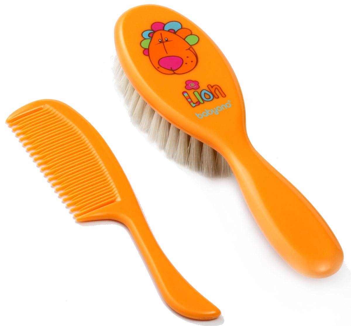 BabyOno Набор детский Лев Расческа и щетка для волос цвет оранжевый