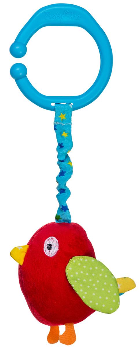 BabyOno Игрушка-подвеска Птичка1394Игрушка-подвеска BabyOno Птичка, несомненно, придется по душе вашему малышу. Игрушка выполнена из текстильных материалов в виде красной птицы. Внутри туловища игрушки расположен колокольчик, звенящий при тряске, а в крылышках - шуршащий элемент. К голове птички крепится веревочка, потянув за которую игрушка начнет вибрировать до тех пор, пока веревочка не вернется в исходное положение. С помощью незамкнутого пластикового кольца игрушку легко можно прикрепить к детской кроватке, коляске или автомобильному креслу. Игрушка-подвеска BabyOno Птичка поможет развить у малыша мелкую моторику рук, звуковое и зрительное восприятия, тактильные ощущения, координацию движений, а милый жизнерадостный образ подарит малышу хорошее настроение! Товар сертифицирован.