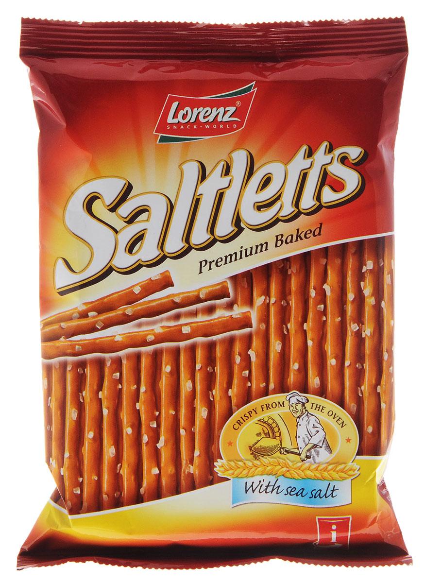 Lorenz Saltletts палочки соленые классические на ленте, 75 гбзе053Палочки Lorenz Saltletts уже давно являются бесспорной классикой на немецком рынке. Хрустящая соломка золотисто-коричневого цвета радует потребителей с 1935 года. Снэки приготовлены из лучших ингредиентов и приправлены натуральной морской солью.