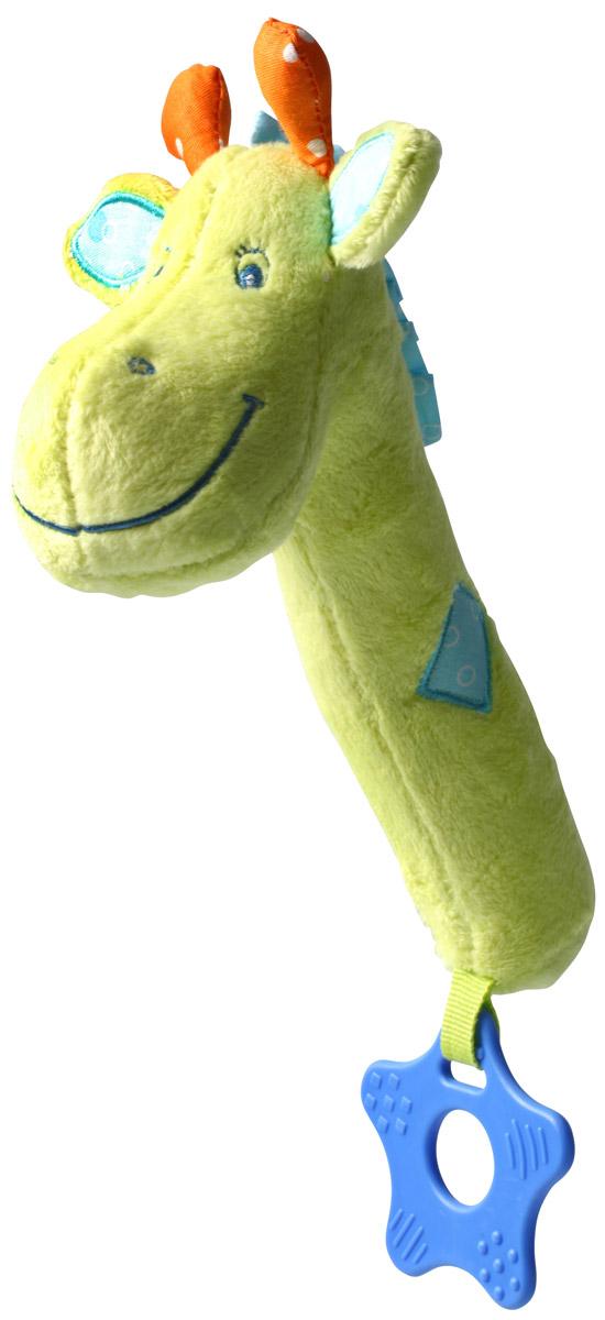 BabyOno Игрушка-пищалка Жираф997Игрушка-пищалка BabyOno Жираф гарантирует малышу много радости и стимулов для развития чувств в начальный период жизни. Контрастные цвета привлекают внимание ребенка и учат их различать. Формы игрушки и прорезыватель способствуют познаванию разных форм. Прорезыватель успокоит боль десен, во время появления первых зубов. Даже легкое нажатие на игрушку вызывает тонкий звук пищалки, что стимулирует чувства ребенка. Товар сертифицирован.