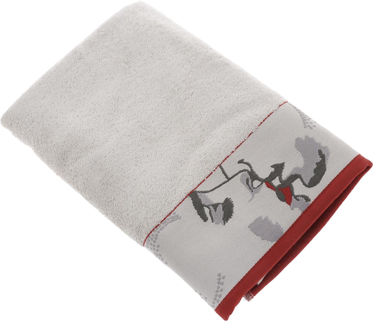 "Полотенце Mona Liza ""Two"", цвет: светло-серый, красный, 70 х 140 см 529678/2"