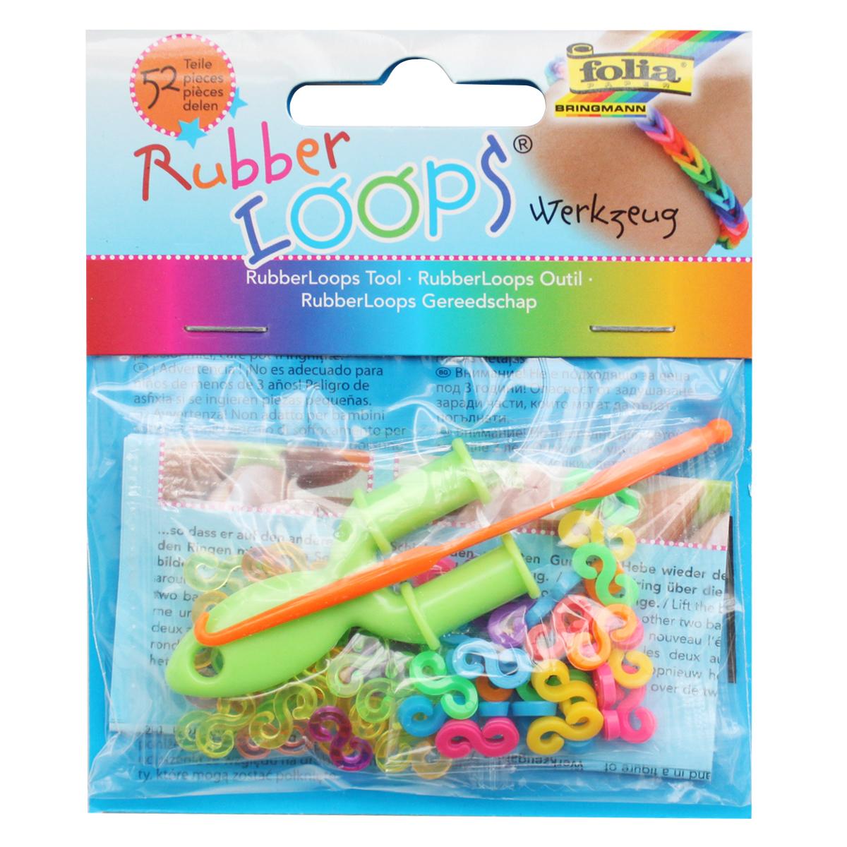 Инструменты для плетения браслетов Folia Rubber Loops, 52 шт инструменты