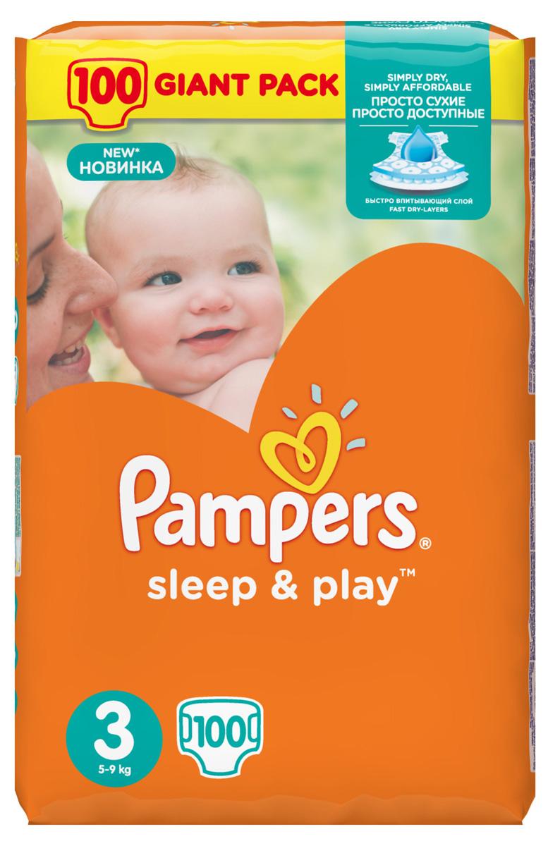 Pampers Подгузники Sleep & Play 5-9 кг (размер 3) 100 шт