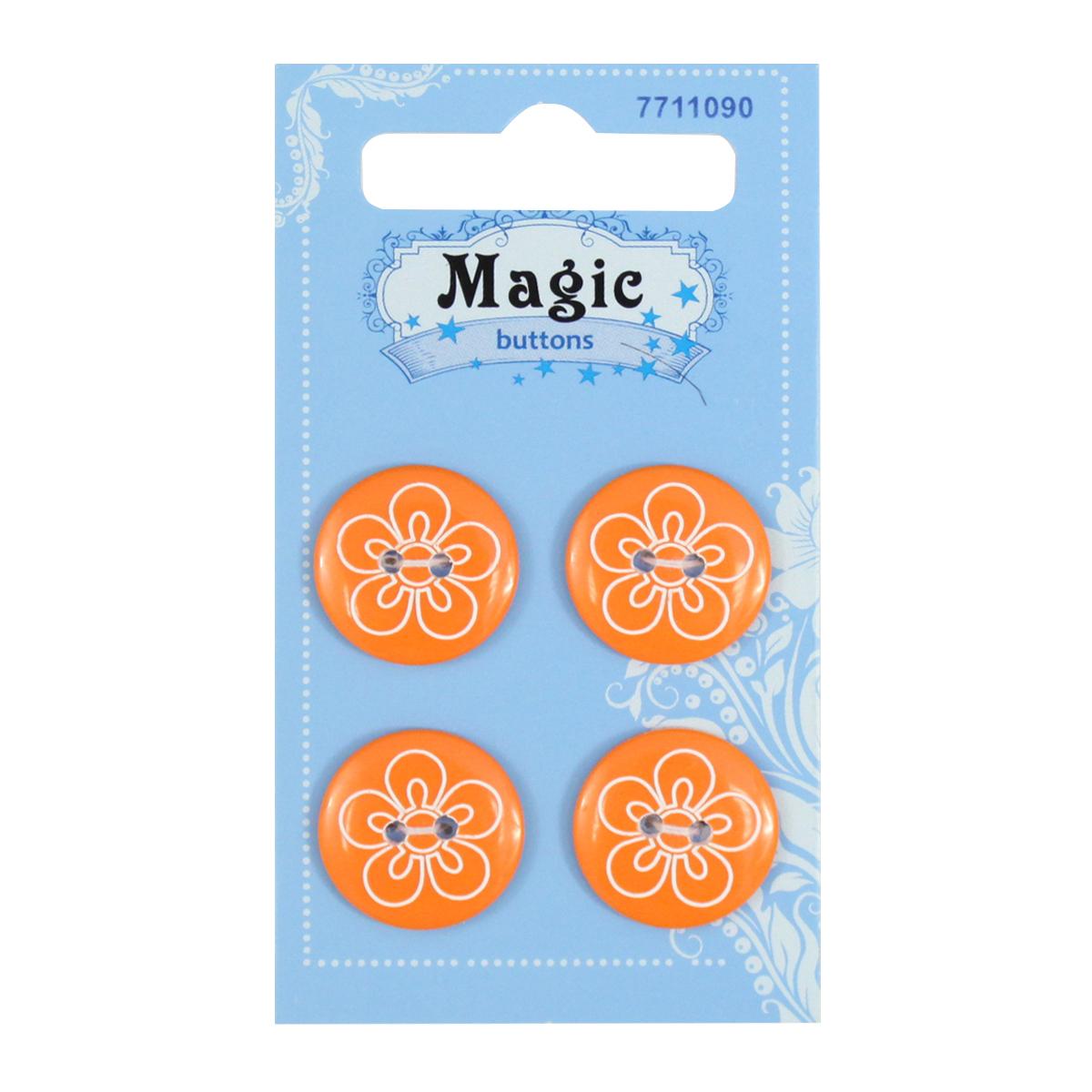 Пуговицы декоративные Magic Buttons Цветок, 4 шт7711090Яркие пуговицы бренда Magic Buttons восхищают разнообразием стилей и цветов. Они станут отличным дополнением в качестве завершающего штриха на одежде, кроме того их можно использовать в скрапбуинге, создавать с помощью них интересные открытки, подарочные конверты и многое, многое другое.