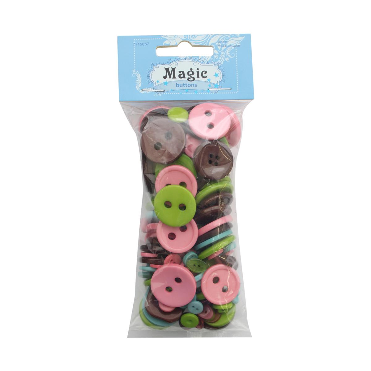 Пуговицы декоративные Magic Buttons Палитра, цвет: розовый, коричневый, зеленый, 100 г7715057_Чистый цветЯркие и красочные пуговицы Magic Buttons станут прекрасным дополнением к любому образу. Пуговицы выполнены в разных цветовых вариантах и формах.