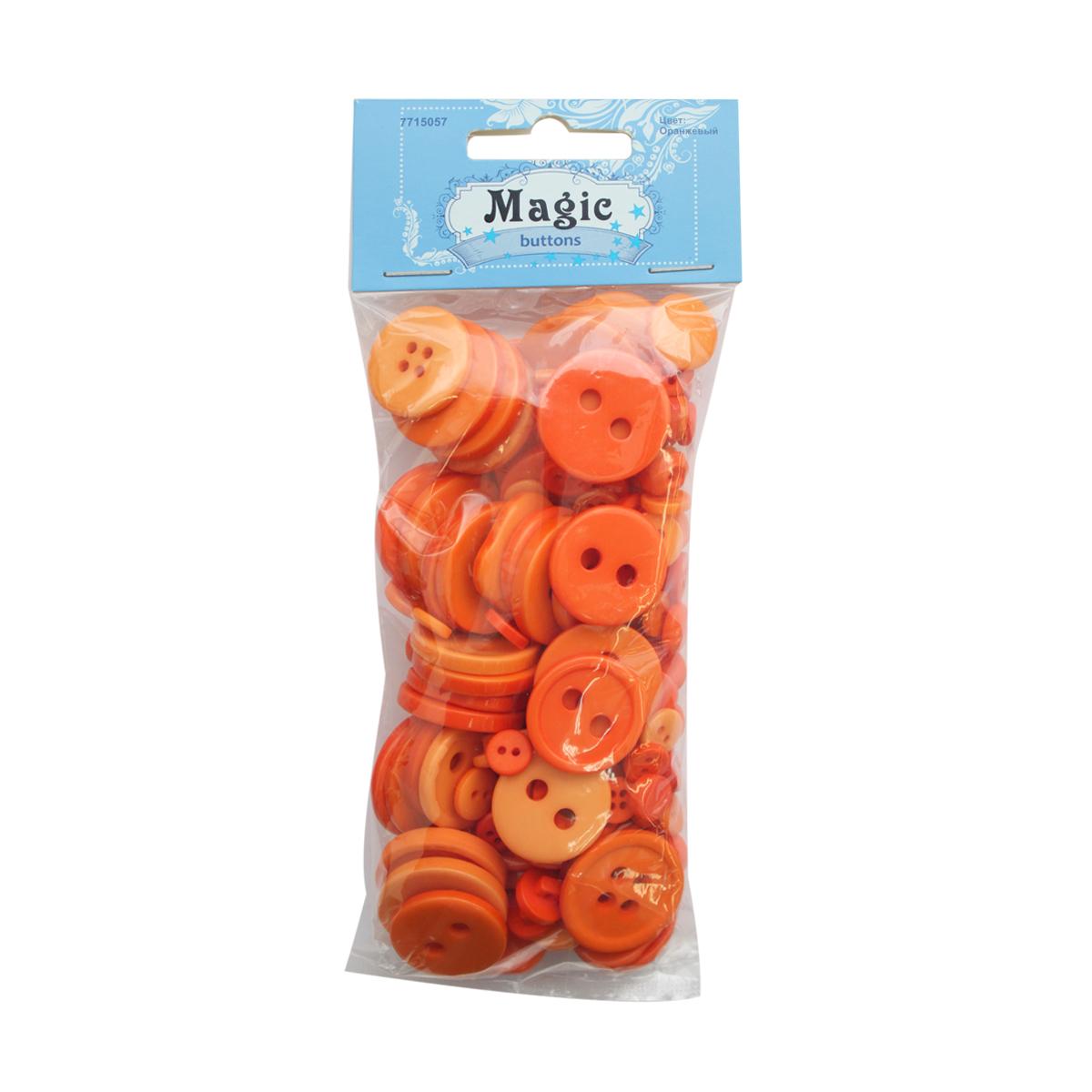 Пуговицы декоративные Magic Buttons Палитра, цвет: оранжевый, 100 г7715057_ОранжевыйЯркие и красочные пуговицы Magic Buttons станут прекрасным дополнением к любому образу. Пуговицы выполнены в разных цветовых вариантах и формах.