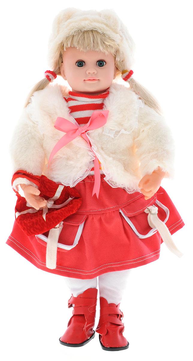 Карапуз Интерактивная кукла Аленка в юбке и меховой жилетке цвет наряда белый красный107695/5106R_белый, красныйИнтерактивная кукла Карапуз Аленка - великолепная кукла, понимающая вашего ребенка, реагируя на фразы. Она поет песенки, знает стихи, скороговорки, загадки и считалочки. С ней можно играть в 7 различных игр. Игра Алфавит - Аленка произносит все буквы алфавита с паузами, давая время ребенку повторять следом за ней. После того, как Аленка произнесет все буквы, на каждую из них она расскажет маленькое стихотворение. Игра Считалочка - вместе с Аленкой ваша девочка сможет научиться считать, а чтобы цифры лучше запомнились, кукла рассказывает куриную считалочку. Игра Загадки - кукла Аленка знает 7 различных загадок, которые будет вам загадывать. Все загадки предполагают 2 ответа: да или нет. Игра Скороговорки - Аленка знает 2 скороговорки: про Грека и про маленьких чертят. Сначала она предложит вам рассказать скороговорку про Грека, если вы скажете: Нет, то она прочтет скороговорку, про маленьких чертят. Каждую скороговорку Аленка...