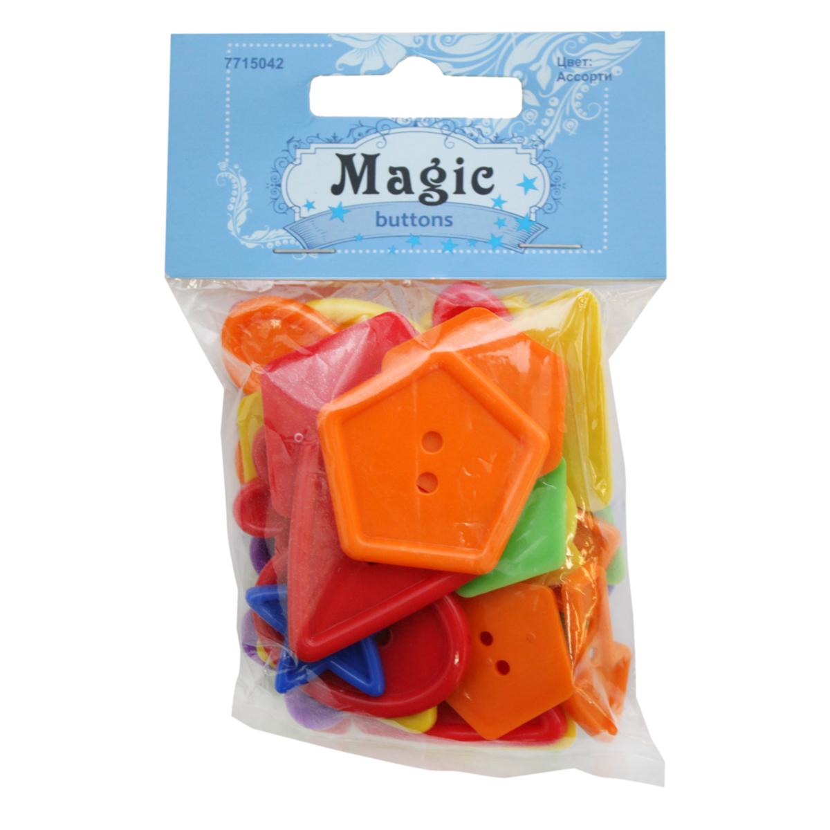 Пуговицы декоративные Magic Buttons Фигуры. Ассорти, 30 г7715042_АссортиЯркие пуговицы бренда Magic Buttons восхищают разнообразием стилей и цветов. Они станут отличным дополнением в качестве завершающего штриха на одежде, кроме того их можно использовать в скрапбуинге, создавать с помощью них интересные открытки, подарочные конверты и многое, многое другое.