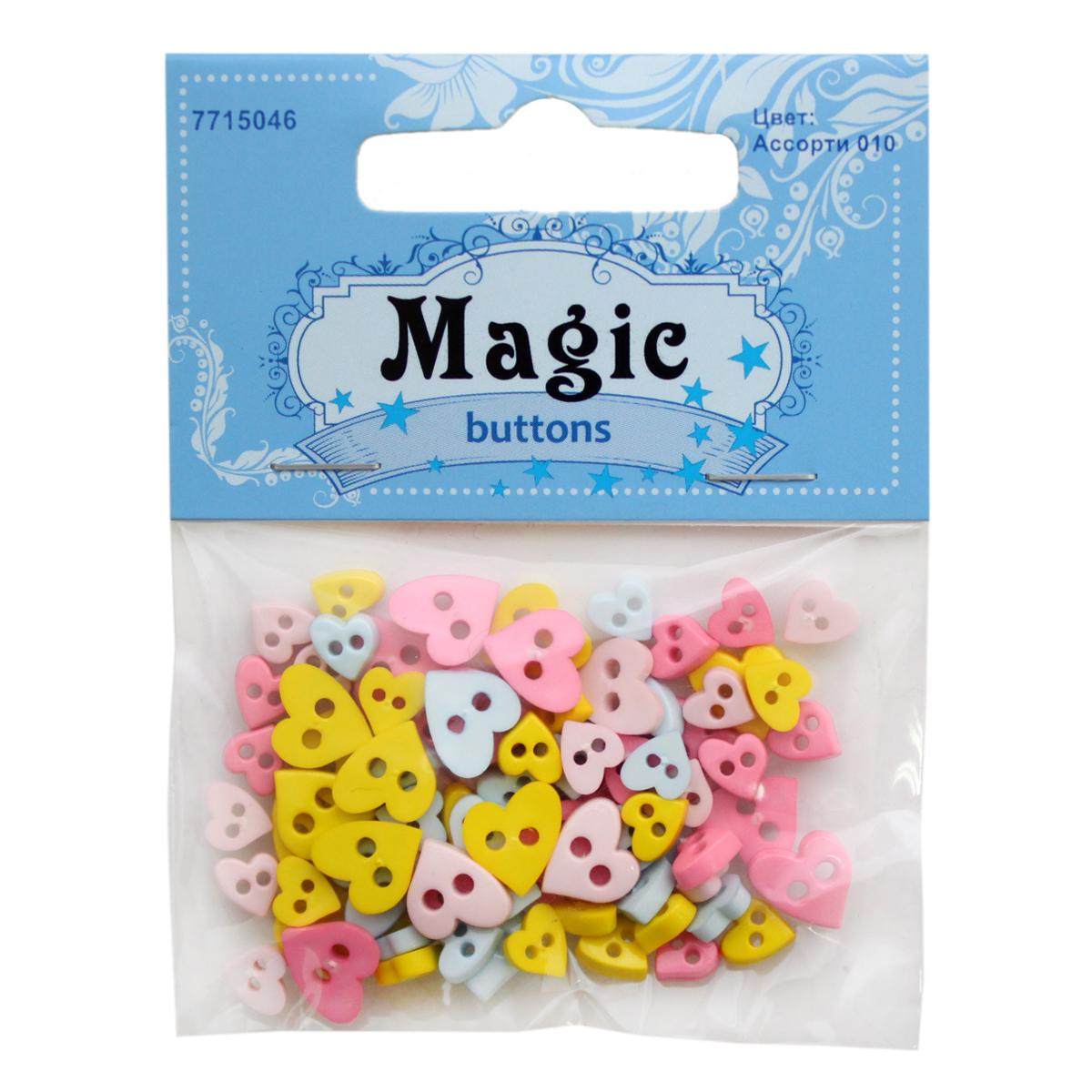 Пуговицы декоративные Magic Buttons Сердечки, 5 г7715046_Ассорти 010Яркие и красочные пуговицы Magic Buttons станут прекрасным дополнением к любому образу. Пуговицы выполнены в разных цветовых вариантах и формах.