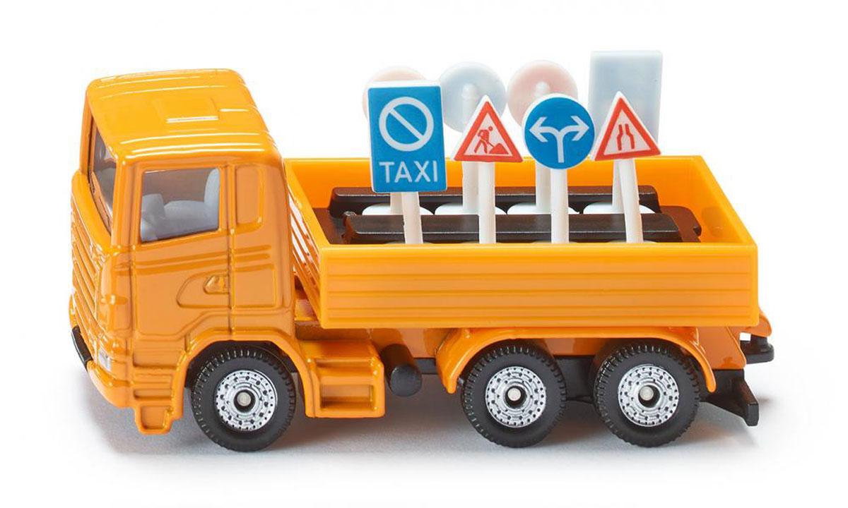Siku Грузовик с дорожными знаками1322Грузовик Siku выполнен в виде точной копии настоящего автомобиля. Такая модель понравится не только ребенку, но и взрослому коллекционеру, и приятно удивит вас высочайшим качеством исполнения. Модель выполнена из металла с элементами из пластика; прорезиненные колеса крутятся. В комплект к грузовику входят восемь дорожных знаков. Отличный подарок для любителей автомобилей!