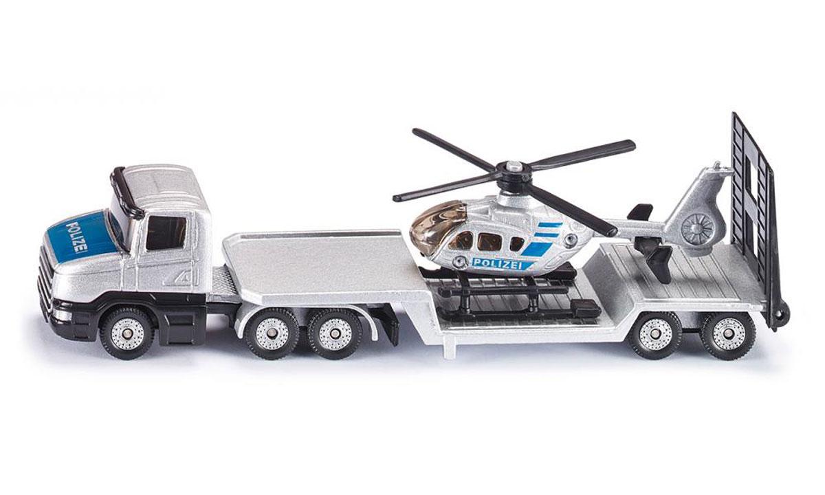 Siku Полицейский тягач с вертолетом1610Полицейский тягач с вертолетом Siku выполнен в виде точной копии тягача. Такая модель понравится не только ребенку, но и взрослому коллекционеру и приятно удивит вас высочайшим качеством исполнения. Корпус тягача, вертолет выполнены из металла, а стекла кабины тягача - из прочного пластика. Прорезиненные колеса модели имеют свободный ход. Модель отличается великолепным качеством исполнения и детальной проработкой, она станет не только интересной игрушкой для ребенка, интересующегося различными видами техники, но и займет достойное место в коллекции.